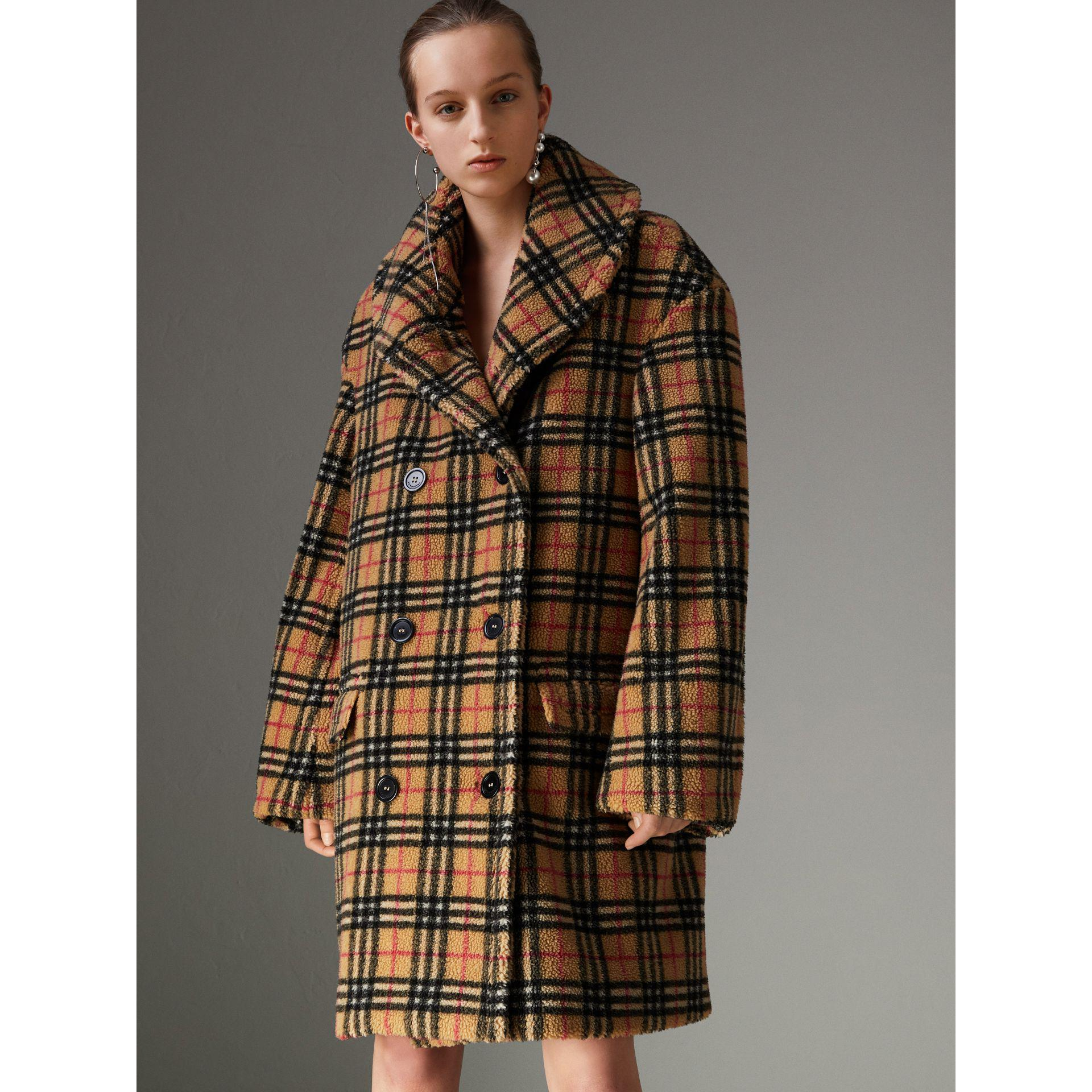 55d44d0c8c1 Burberry Vintage Check Faux Shearling Coat in Brown - Lyst