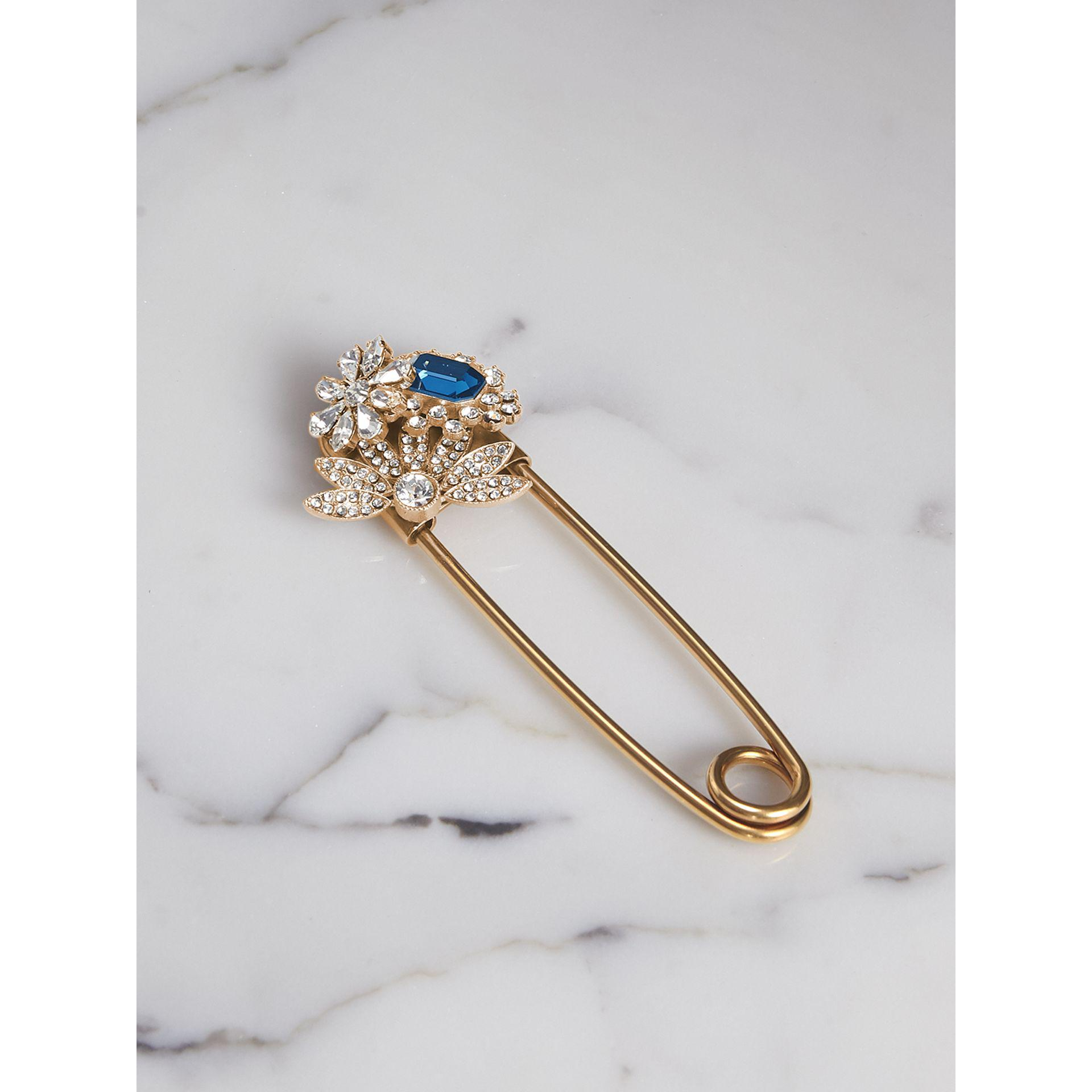 Burberry Crystal and Brass Oversized Pin, White