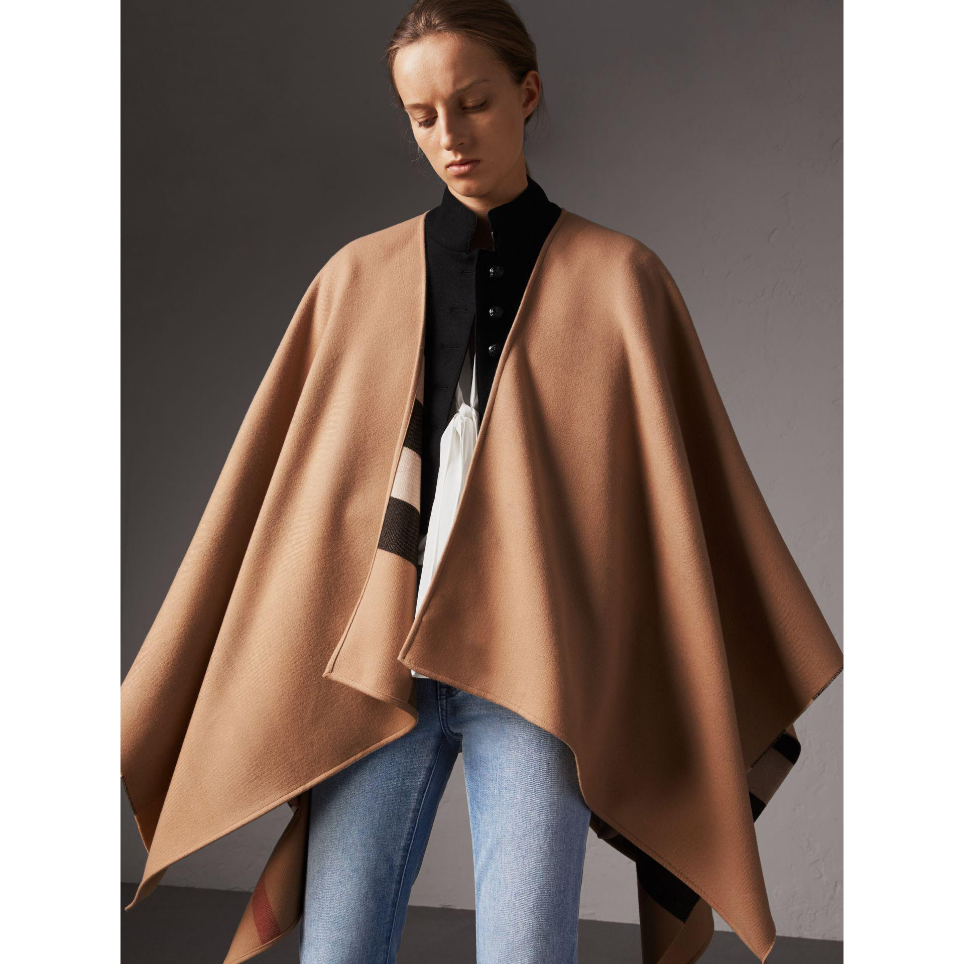 79919bb85 Burberry Reversible Check Merino Wool Poncho in Natural - Lyst