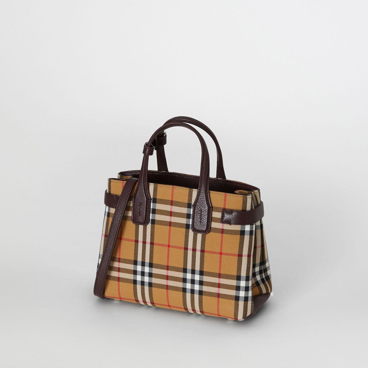 0d8c3c98c51 Lyst - Burberry The Small Banner In Vintage Check And Leather