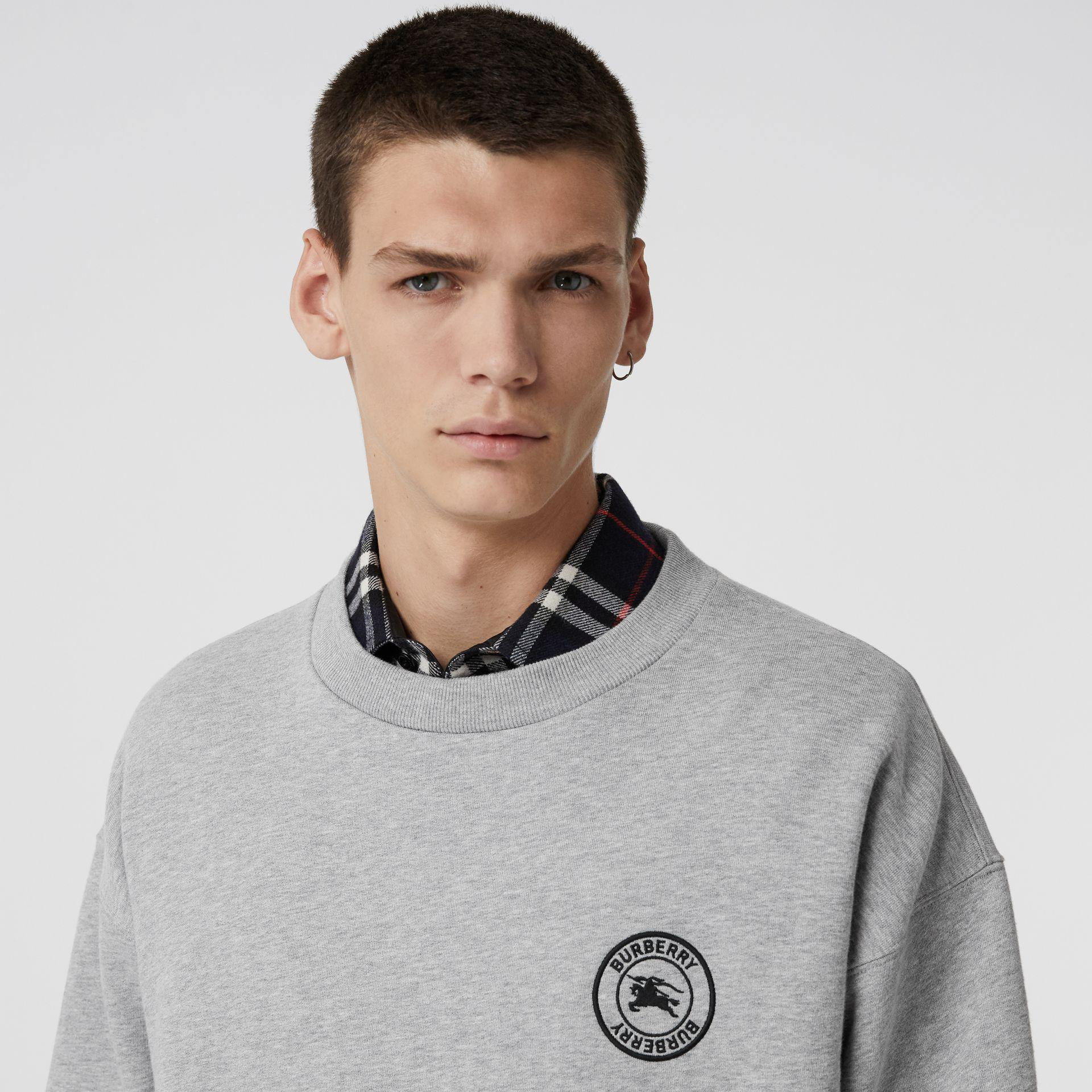 6200a6ac8 Burberry - Gray Embroidered Logo Jersey Sweatshirt for Men - Lyst. View  fullscreen