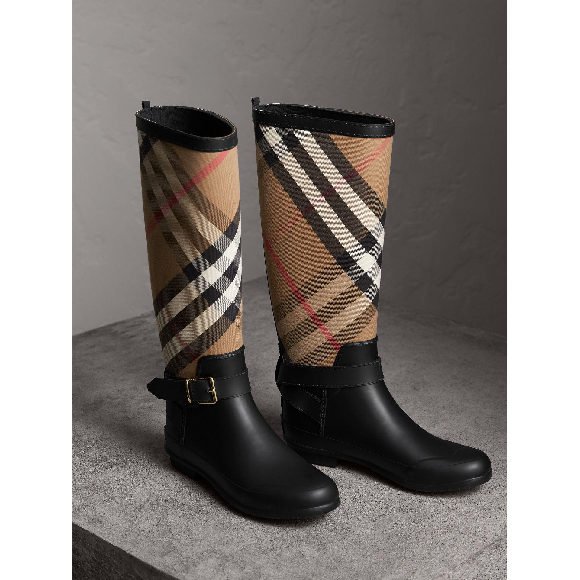 Burberry Belt Detail Check And Rubber Rain Boots House
