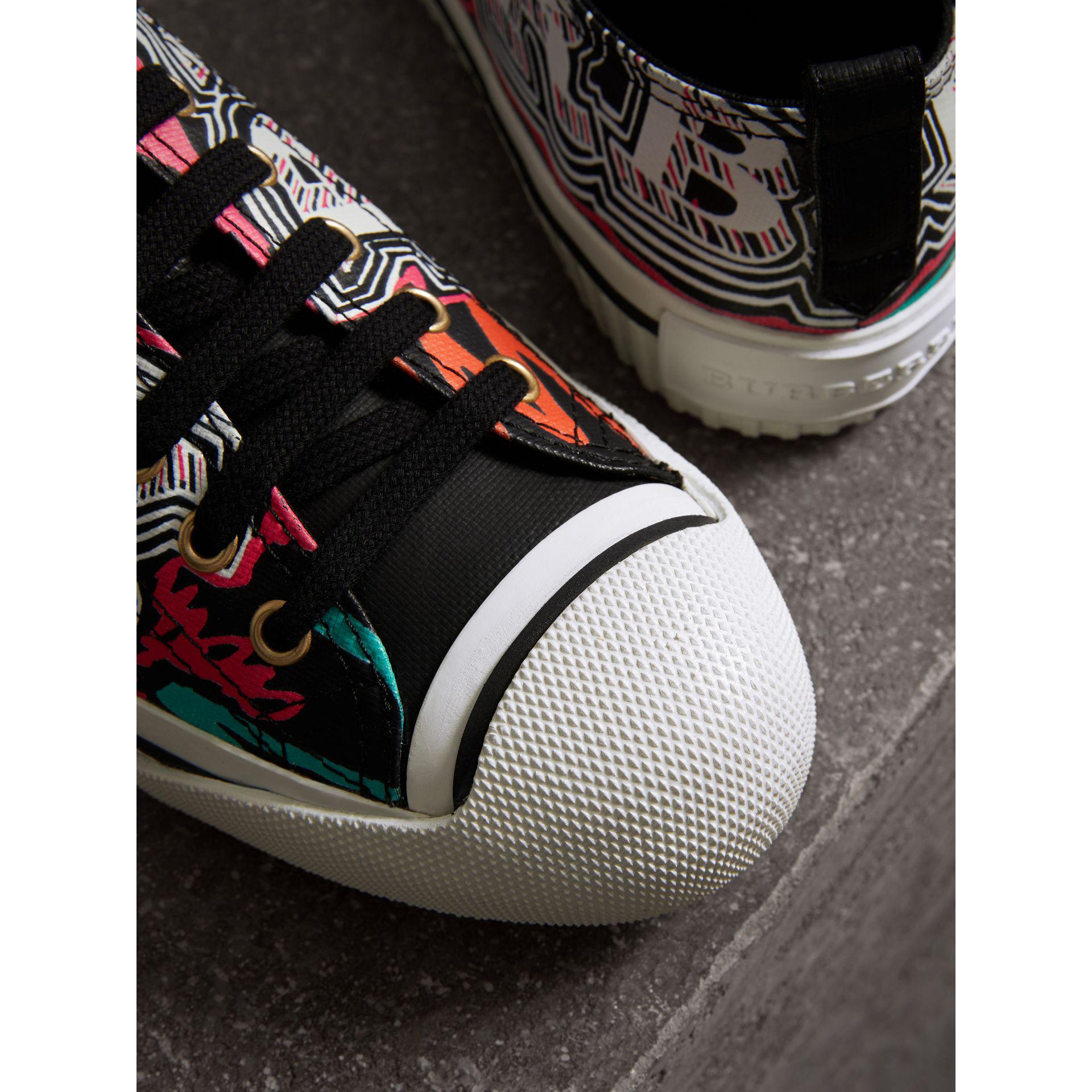 Burberry Doodle Print Coated Cotton Trainers in Black