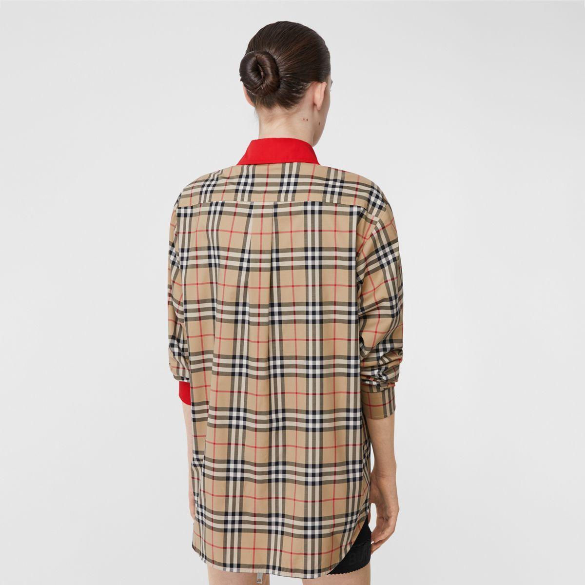 Contrast Trim Vintage Check Stretch Cotton Shirt Burberry