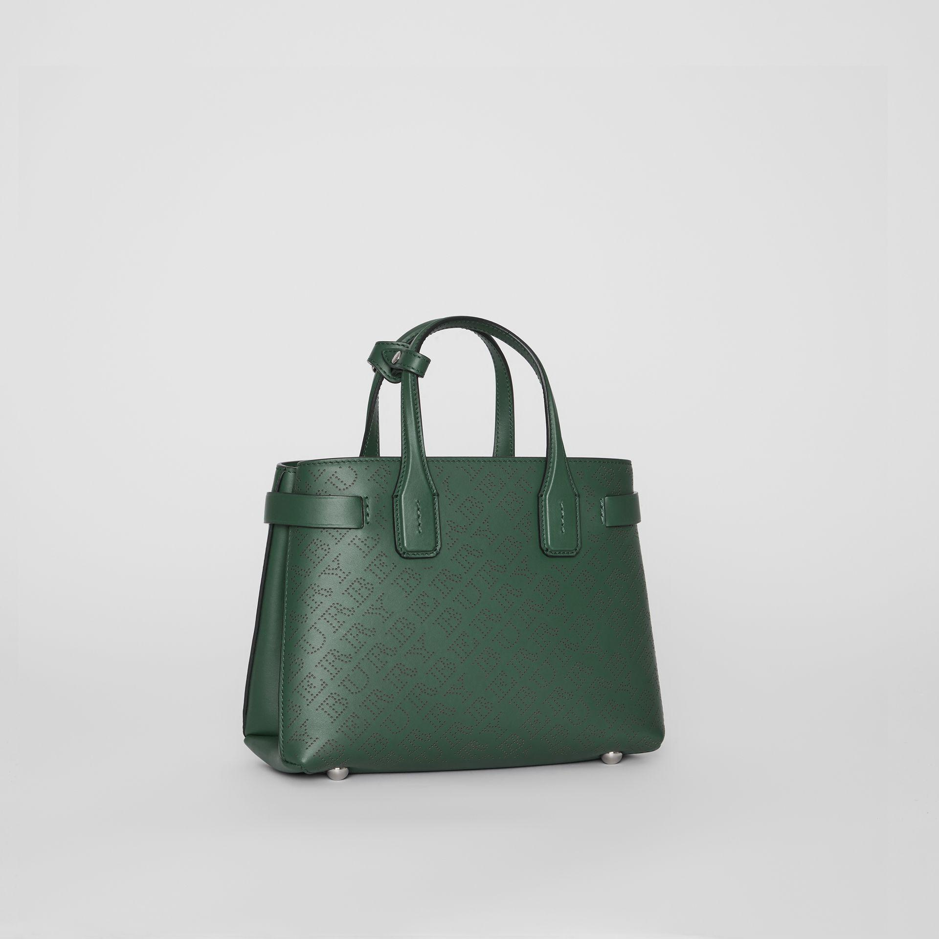 7769d4203b9a Burberry The Medium Banner In Perforated Logo Leather in Green - Lyst