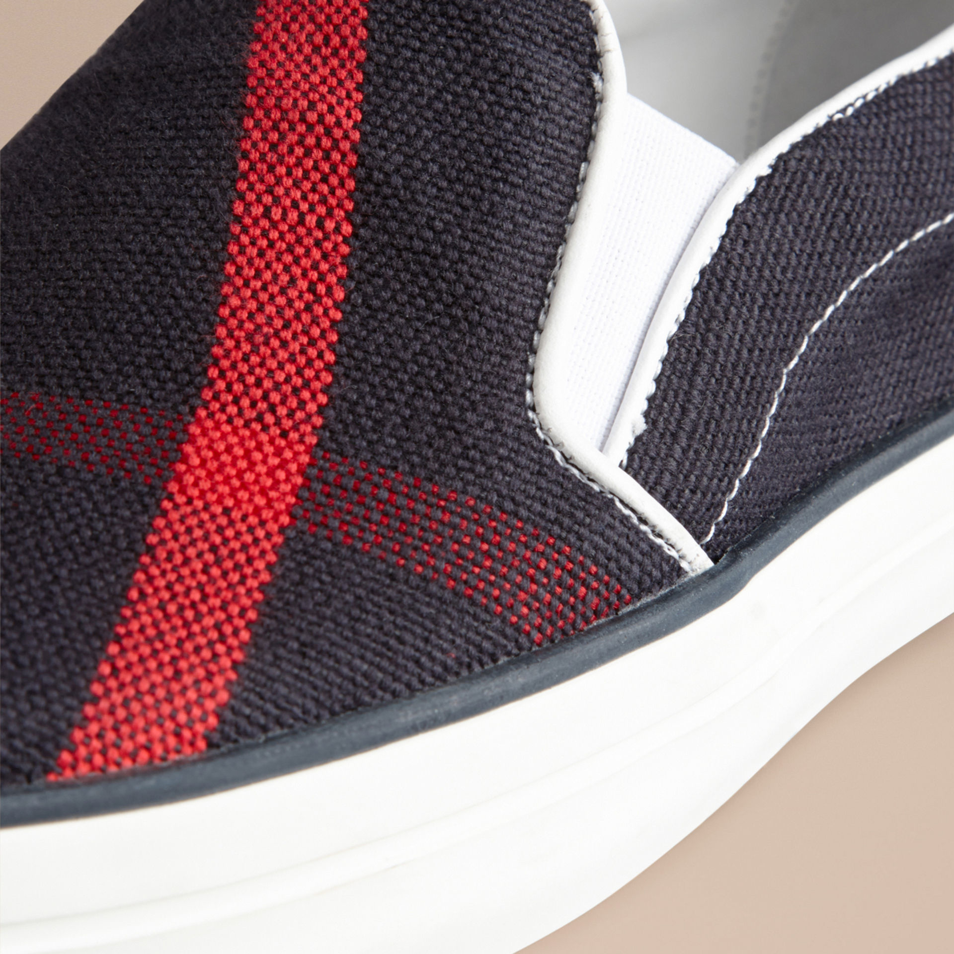 Burberry Rubber Navy Check Slip-on Trainers in Blue