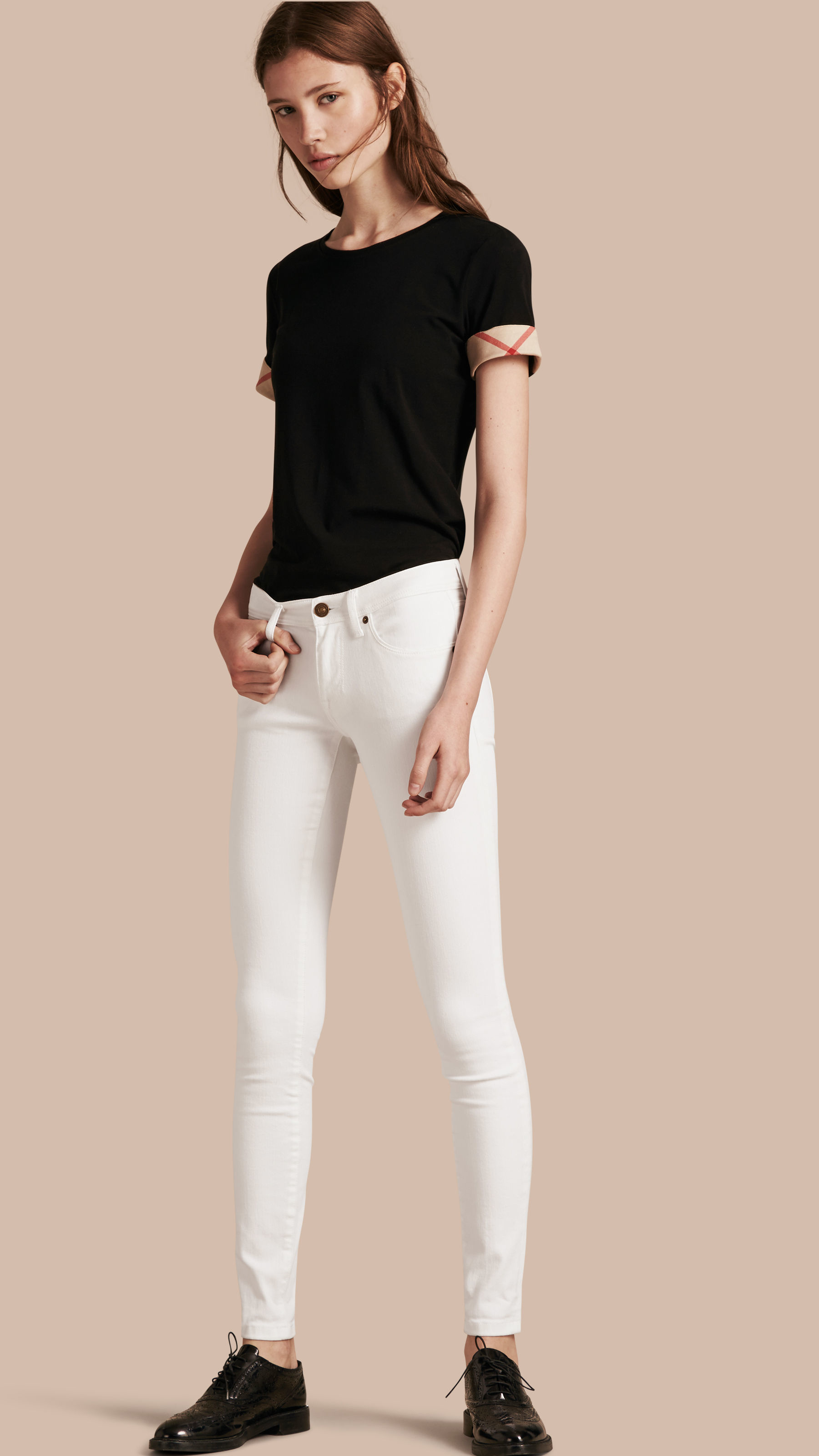 Burberry Denim Skinny Fit Low-rise White Jeans