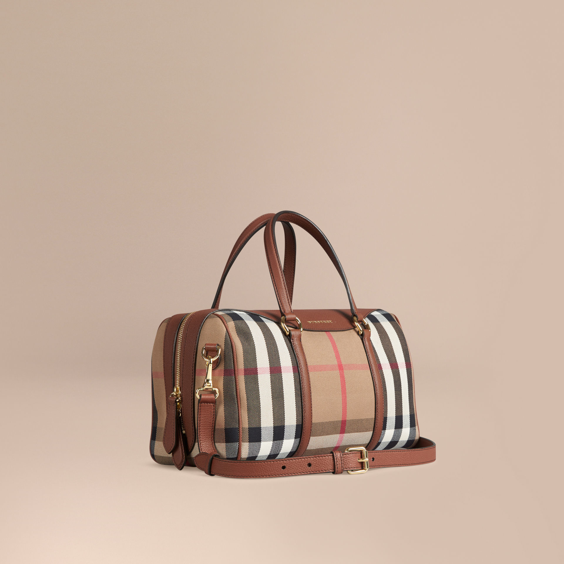 682e281b4a24 Lyst - Burberry The Medium Alchester House Check And Leather Brown ...