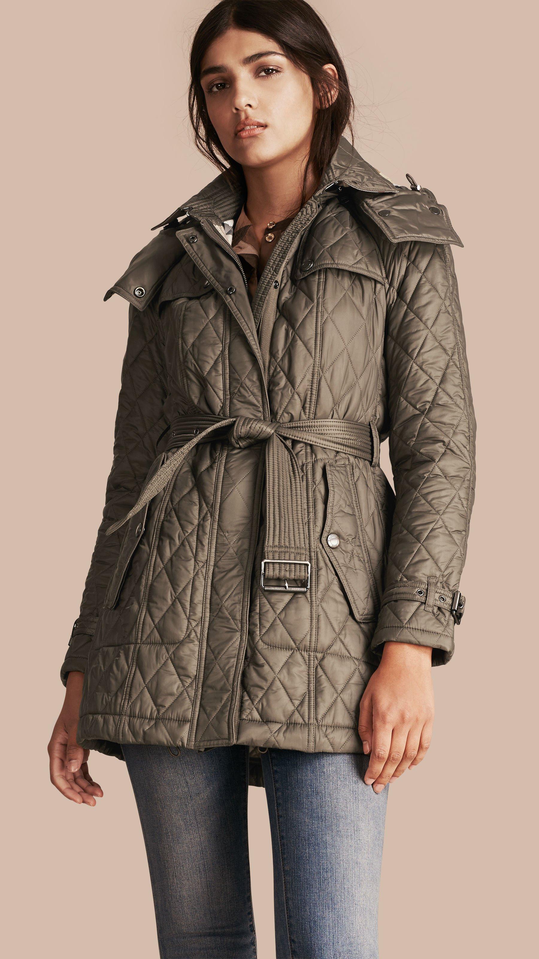 Lyst Burberry Finsbridge Diamond Quilted Coat Mink Grey In Gray