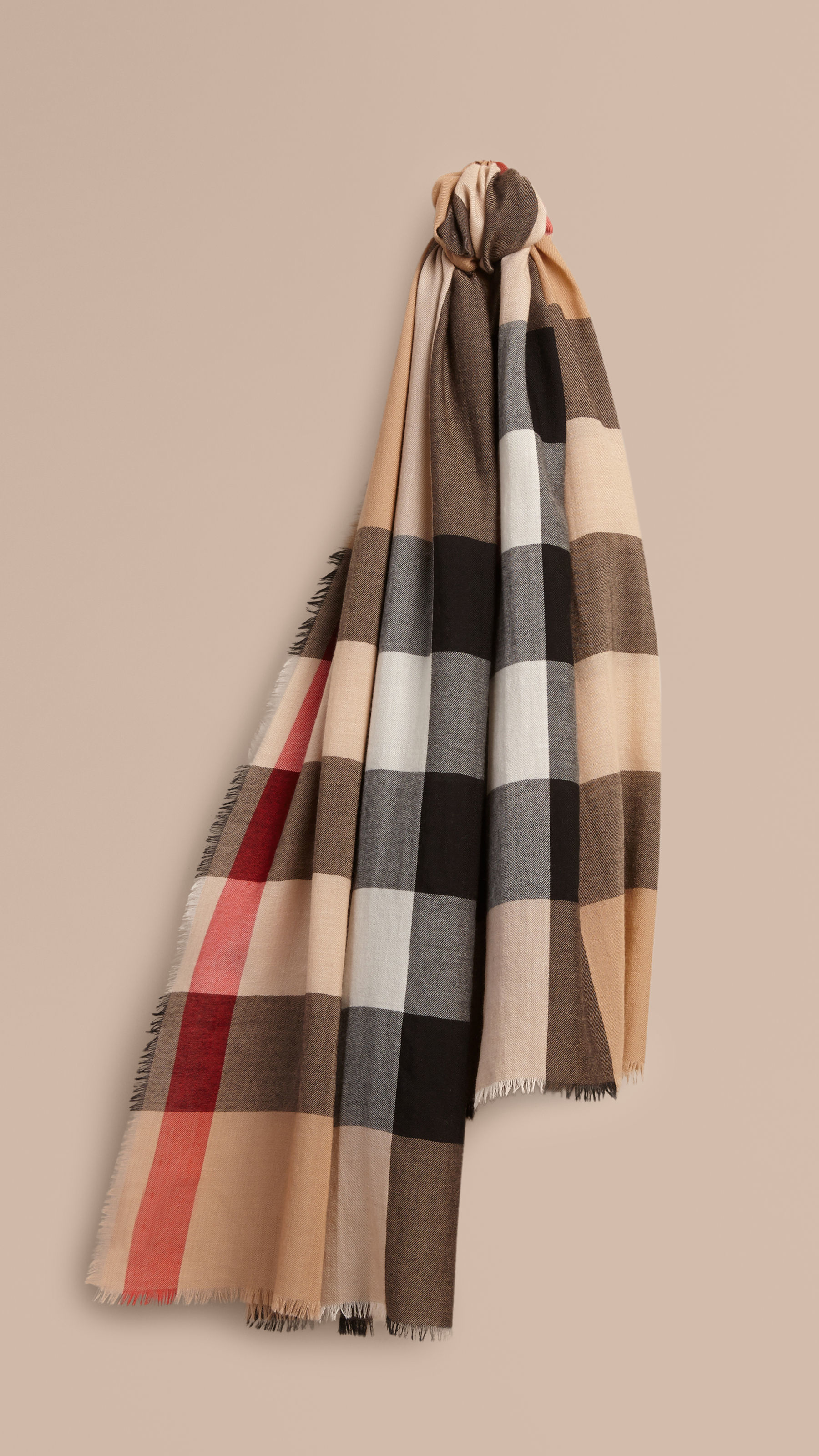 burberry check scarf in beige camel lyst