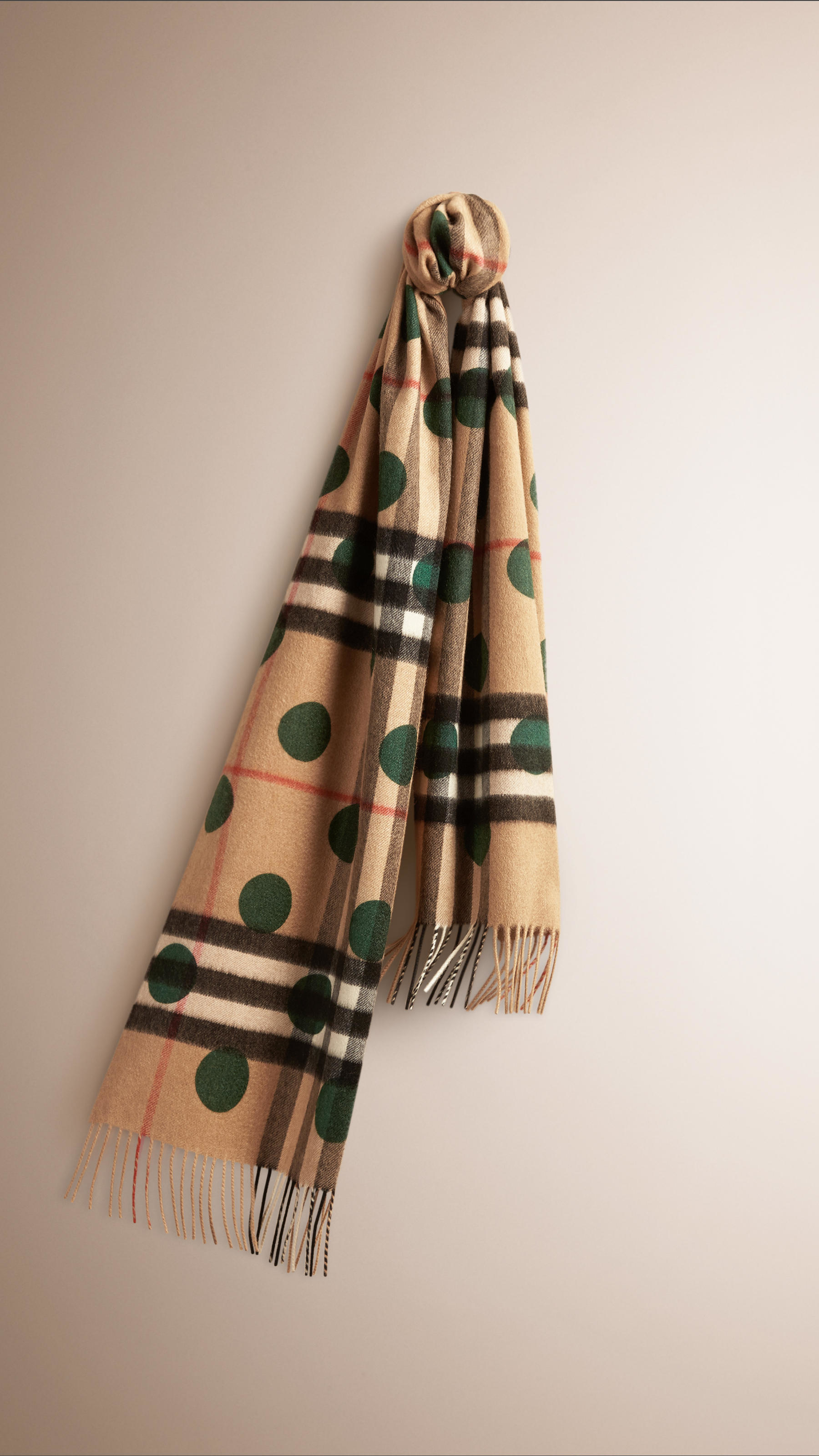 6e8637db7 ... canada burberry the classic cashmere scarf in check and dots dark  forest 2fccf afd2e