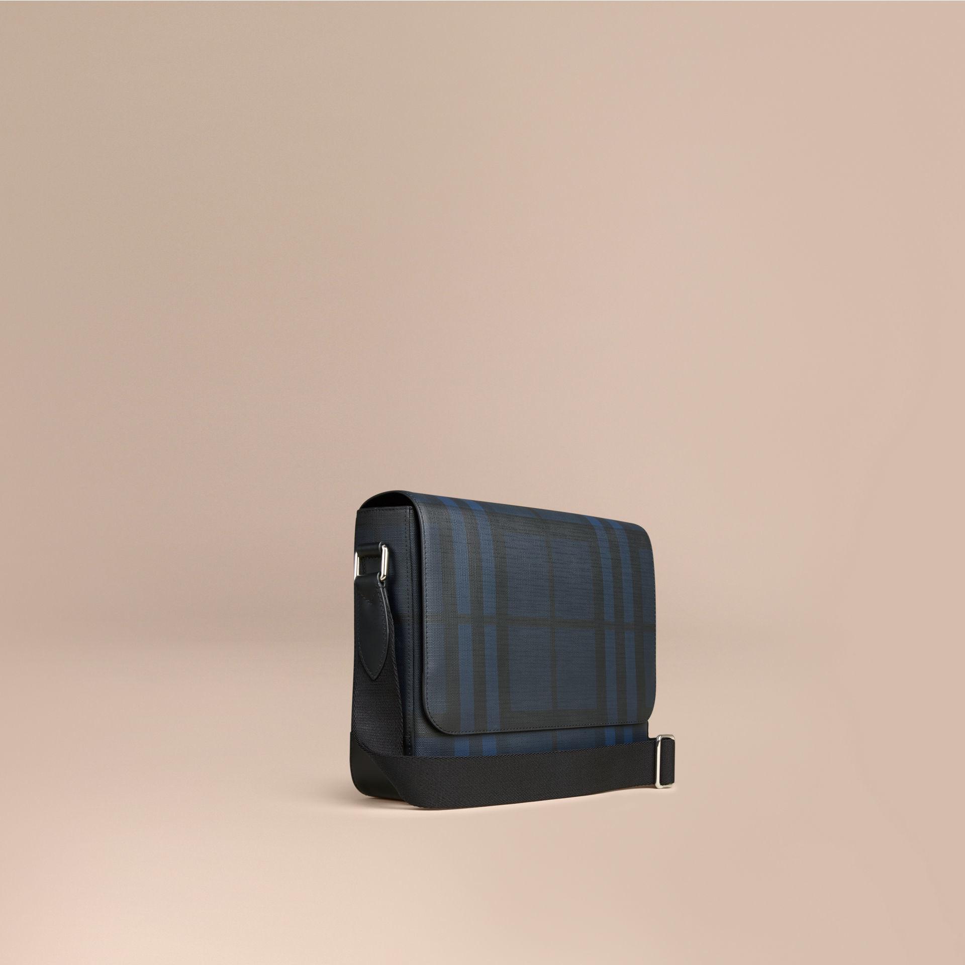 Lyst - Burberry Small London Check Messenger Bag Navy black in Blue ... 65b82fb35fb8a