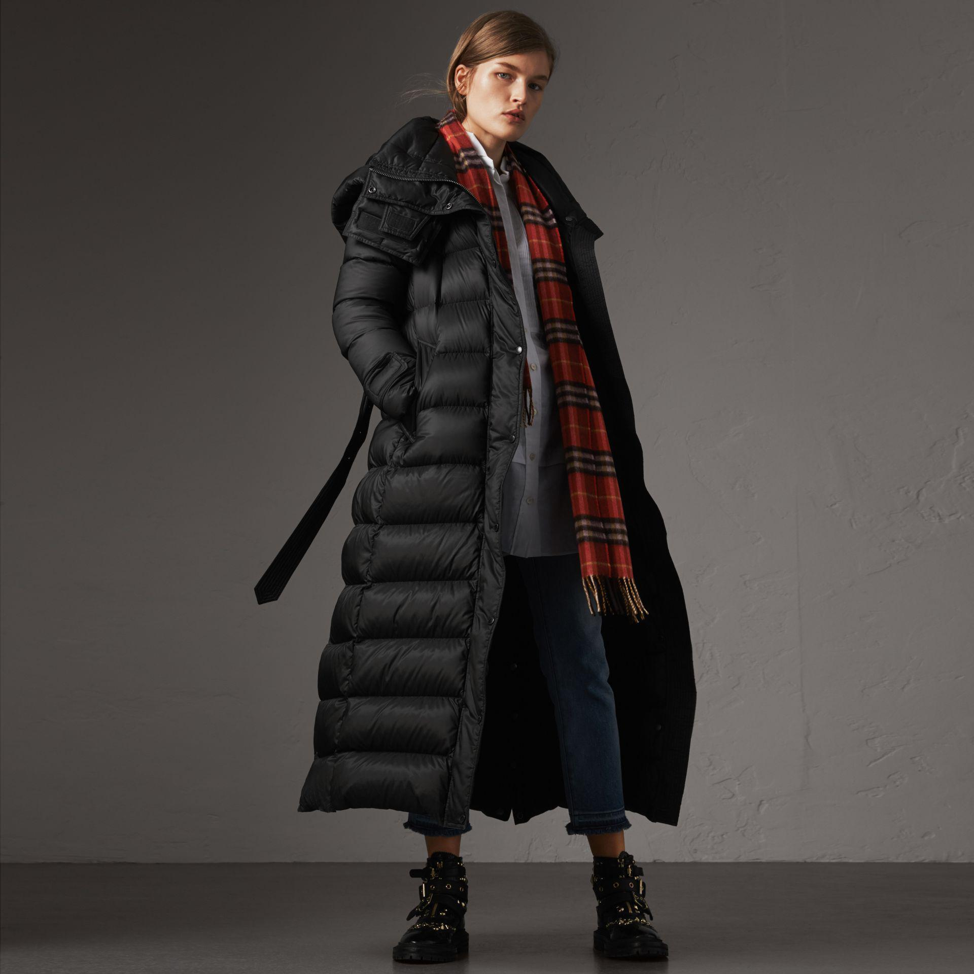 58bc28215d19 Lyst - Burberry Detachable Hood Long Down-filled Puffer Coat in Black