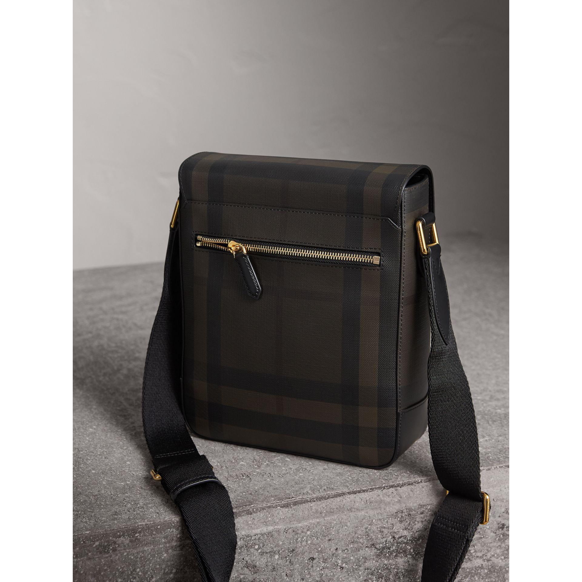 Burberry Canvas London Check Crossbody Bag Chocolate/black in Brown for Men