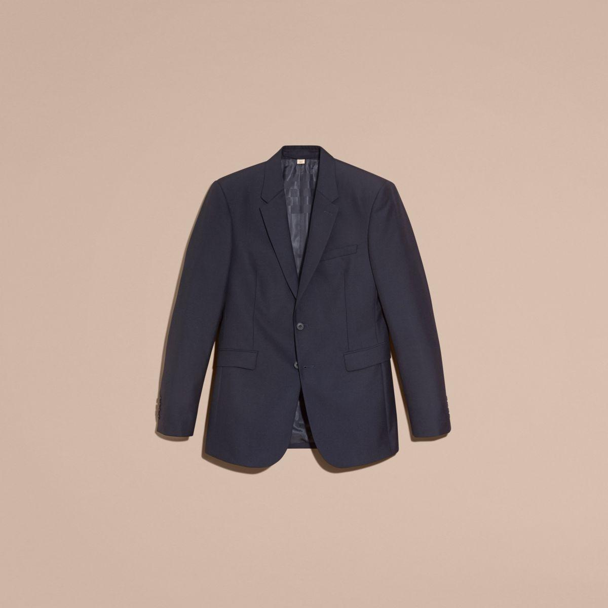 Burberry Modern Fit Wool Part-canvas Jacket in Navy (Blue) for Men