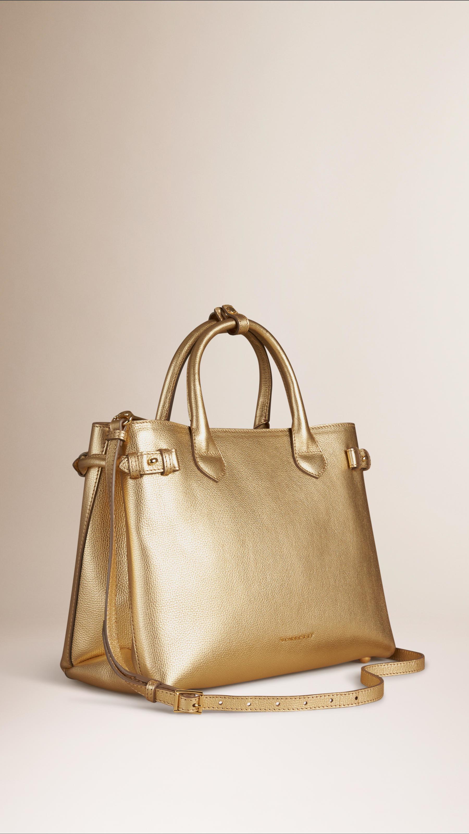 c577c9d757f6 Lyst - Burberry The Banner Medium Leather Bag in Metallic
