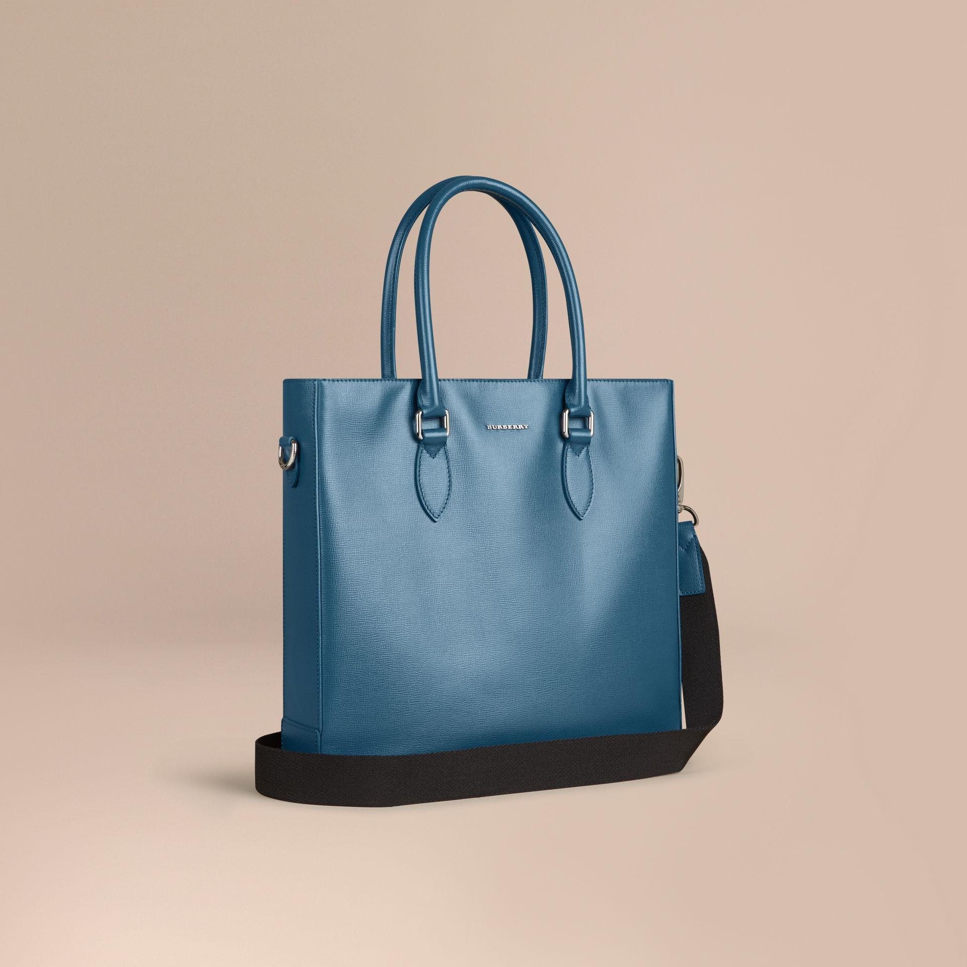 12ab4e5b7322 Burberry London Leather Tote Bag Mineral Blue in Blue for Men - Lyst