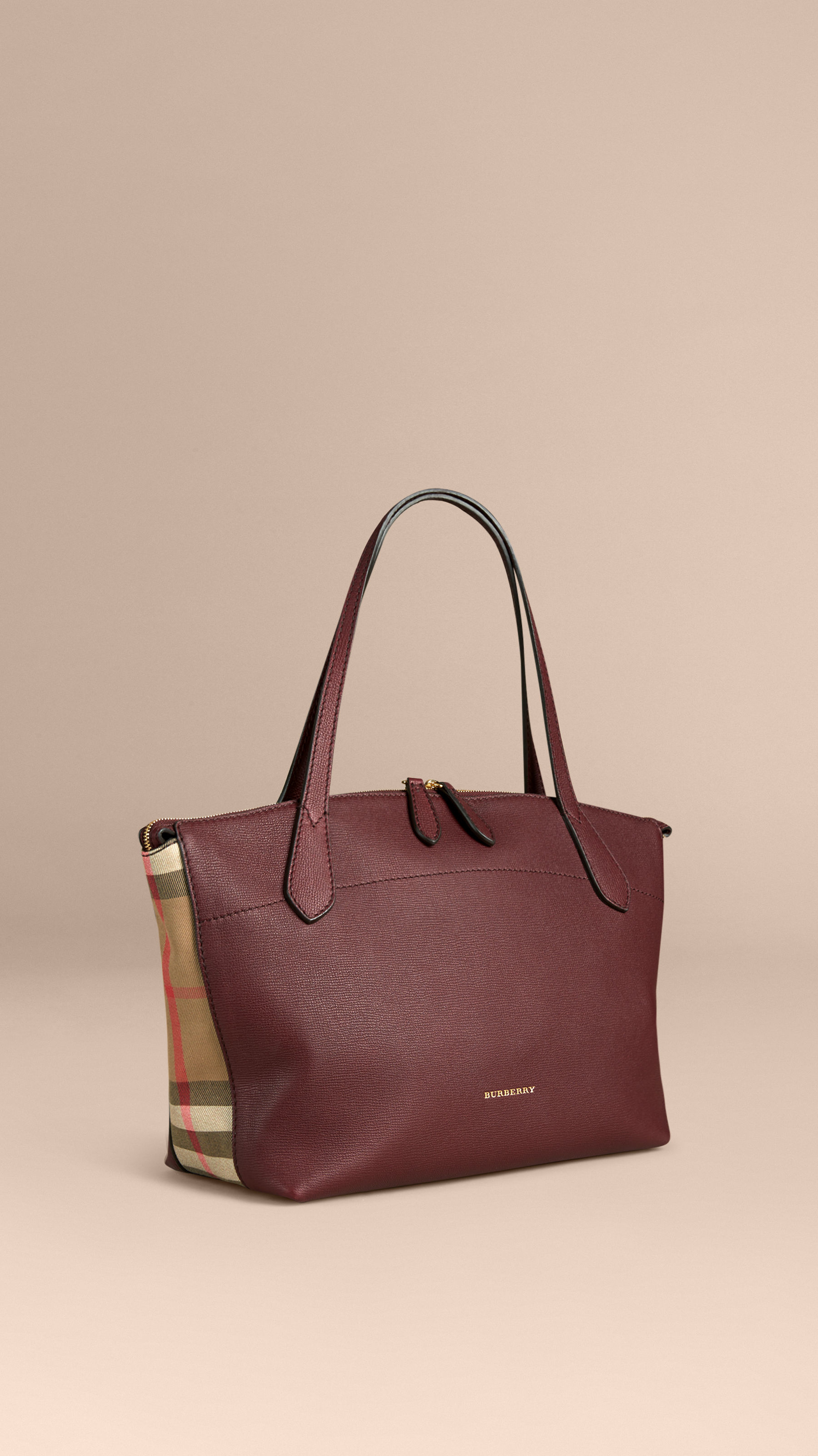 357d6d22d040 Burberry Welburn Medium Leather And House Check Tote Bag .