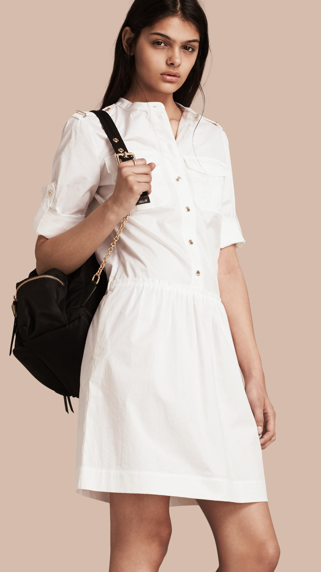 Burberry military inspired cotton blend shirt dress white for White military dress shirt