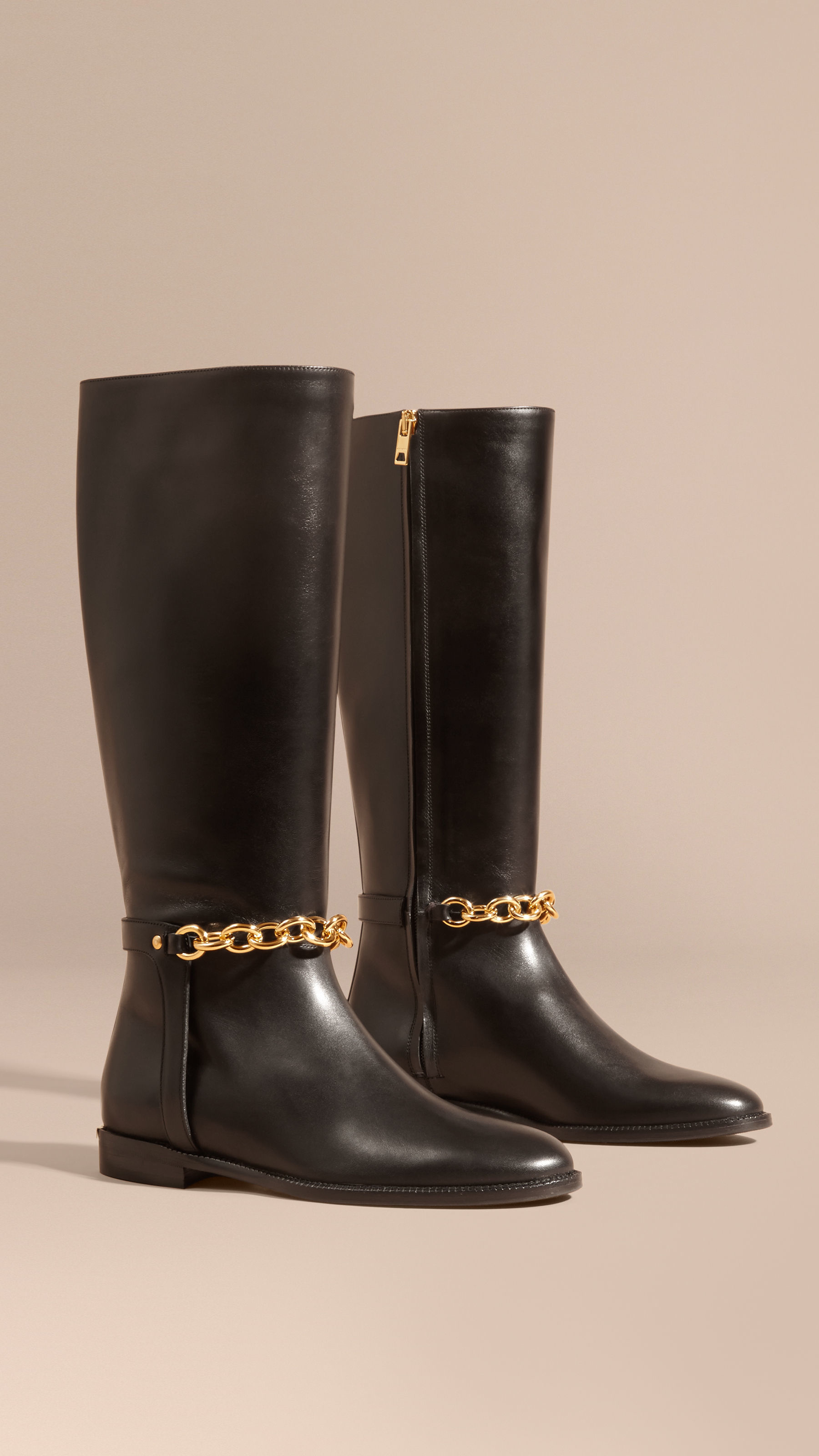 Burberry Chain Detail Leather Riding Boots in Black