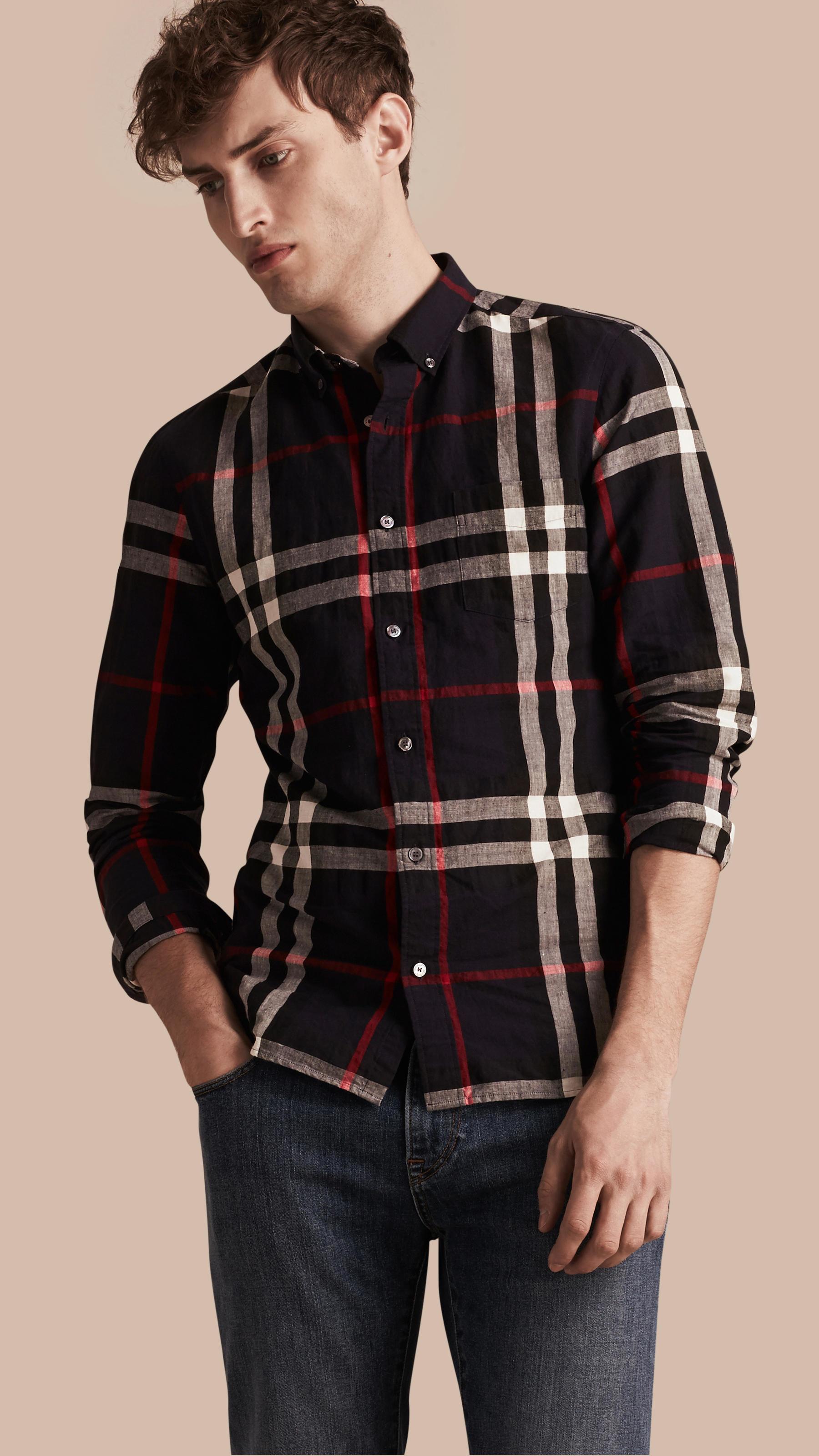 Burberry button down collar check linen cotton shirt navy for Mens black button down shirt