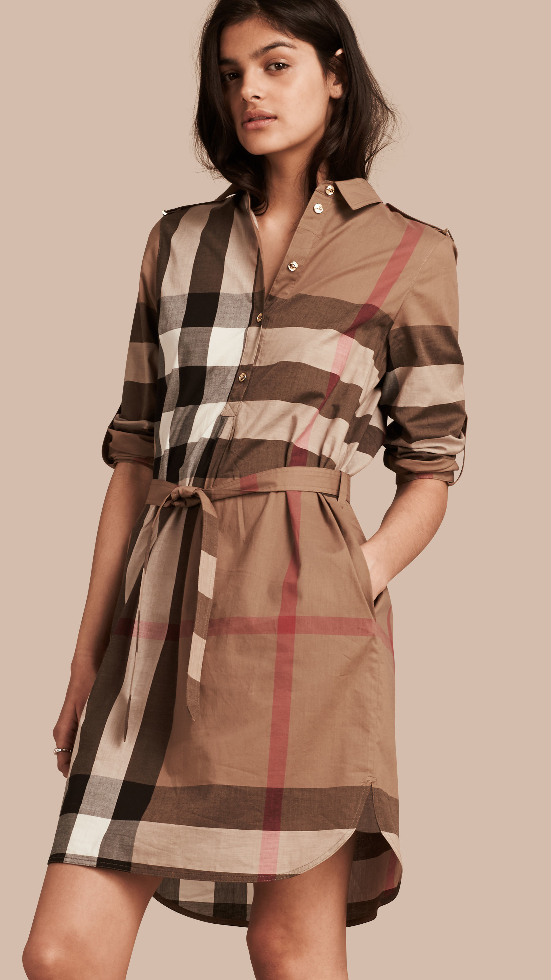 Lyst Burberry Check Cotton Shirt Dress In Brown