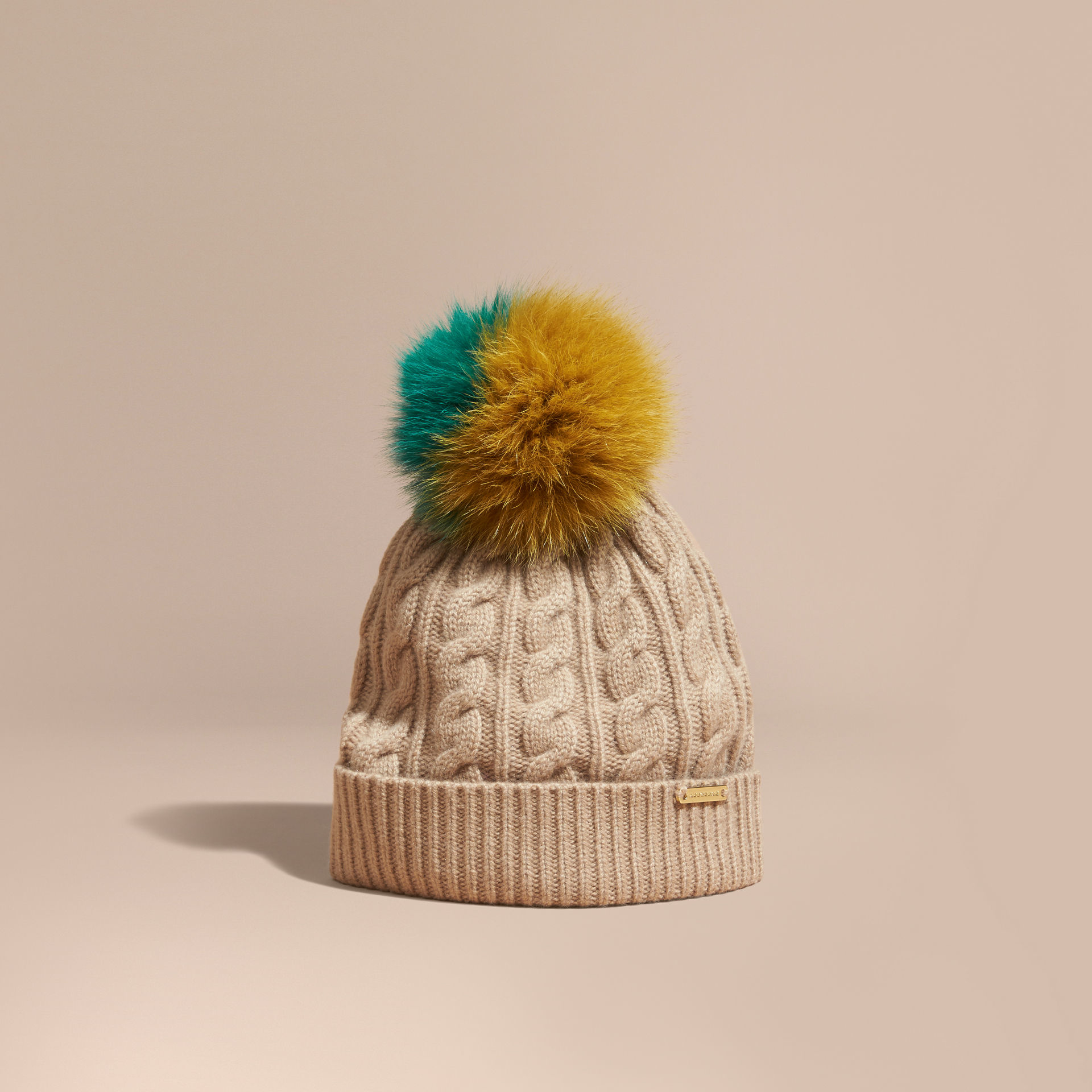 8a52cb0ea Burberry Multicolor Wool Cashmere Beanie With Fur Pom-pom Camel