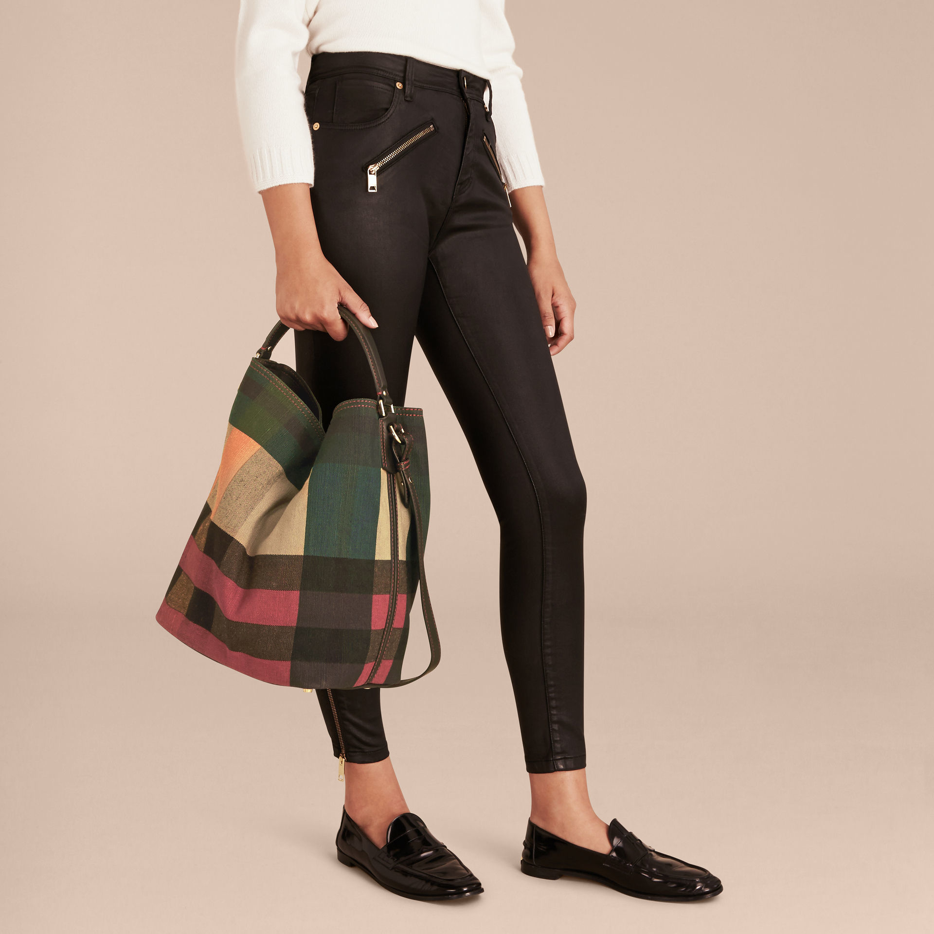 Lyst burberry the medium ashby in printed canvas check for The ashby