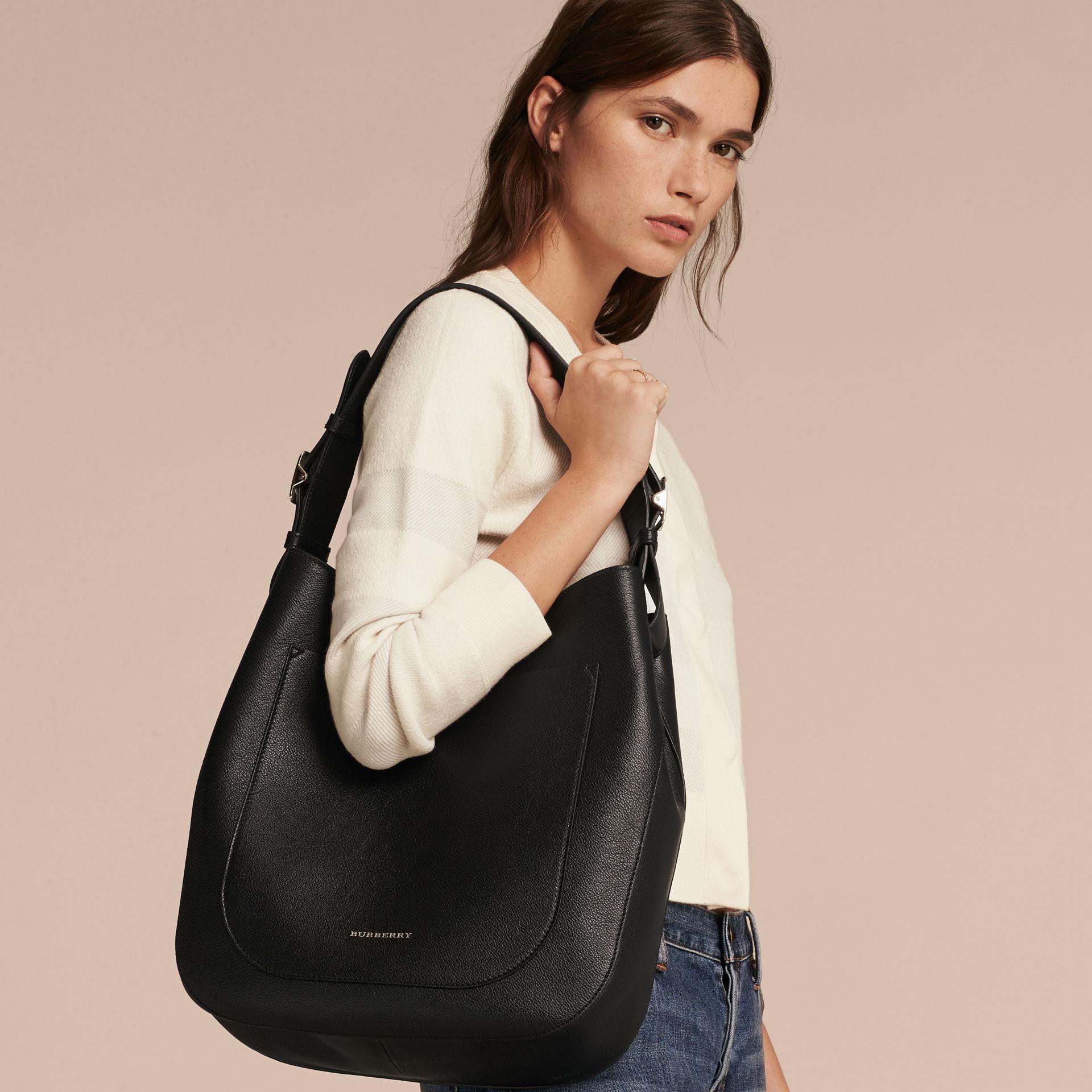 Burberry Textured Leather Shoulder Bag Black in Black - Lyst 960a696b86