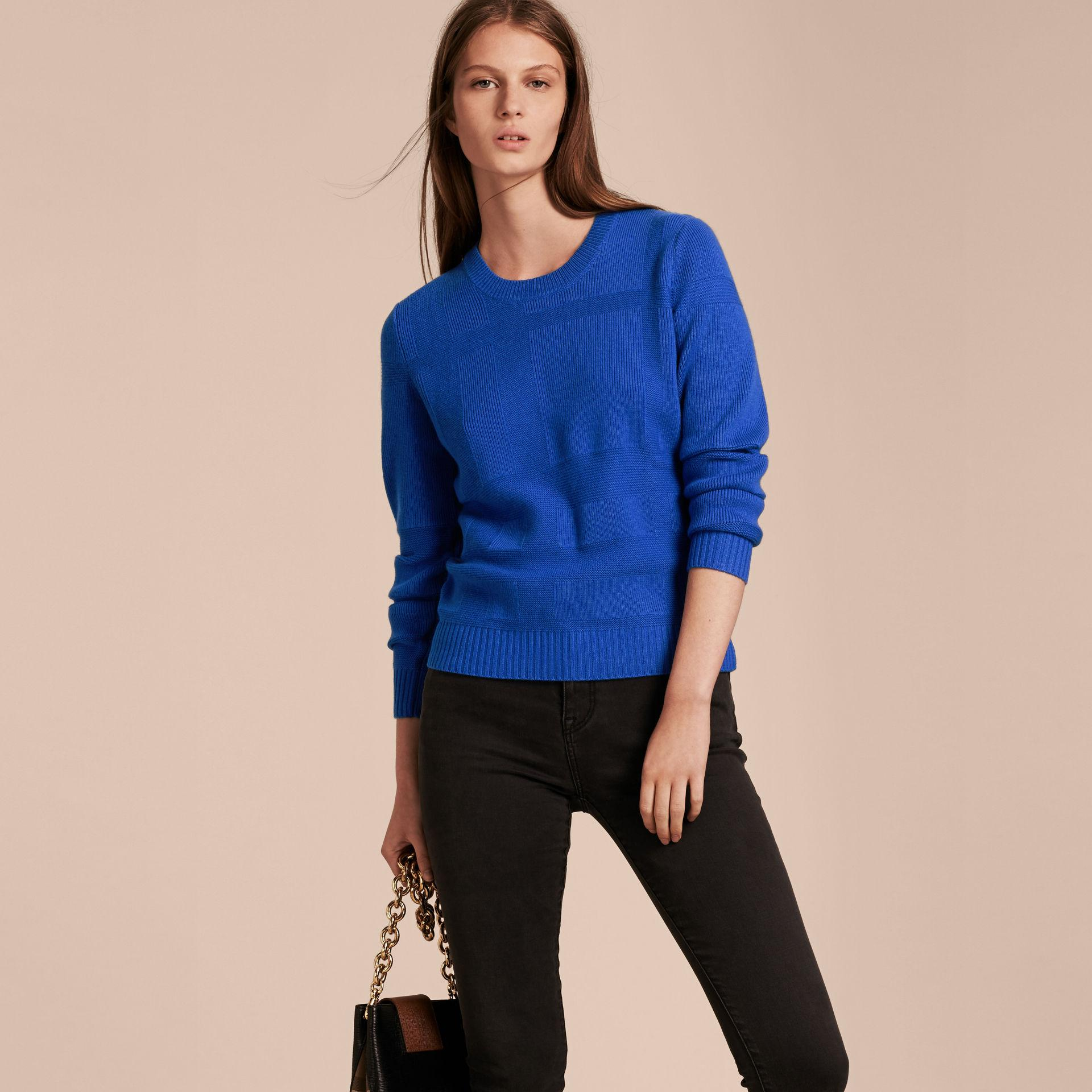 Burberry Check-knit Wool Cashmere Sweater Sapphire Blue in Blue | Lyst