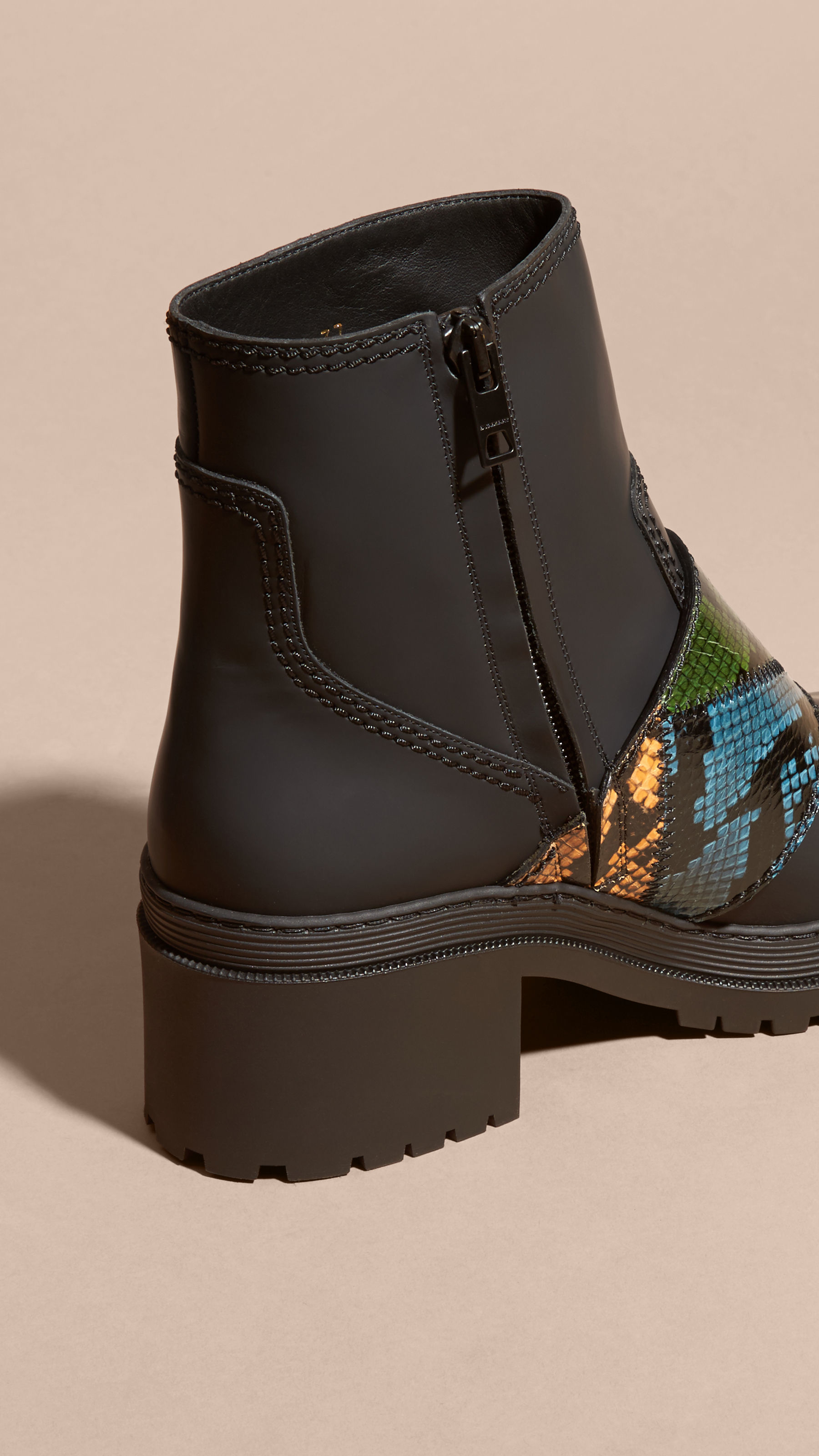 Burberry The Buckle Boot In Rubberised Leather And Snakeskin in Black