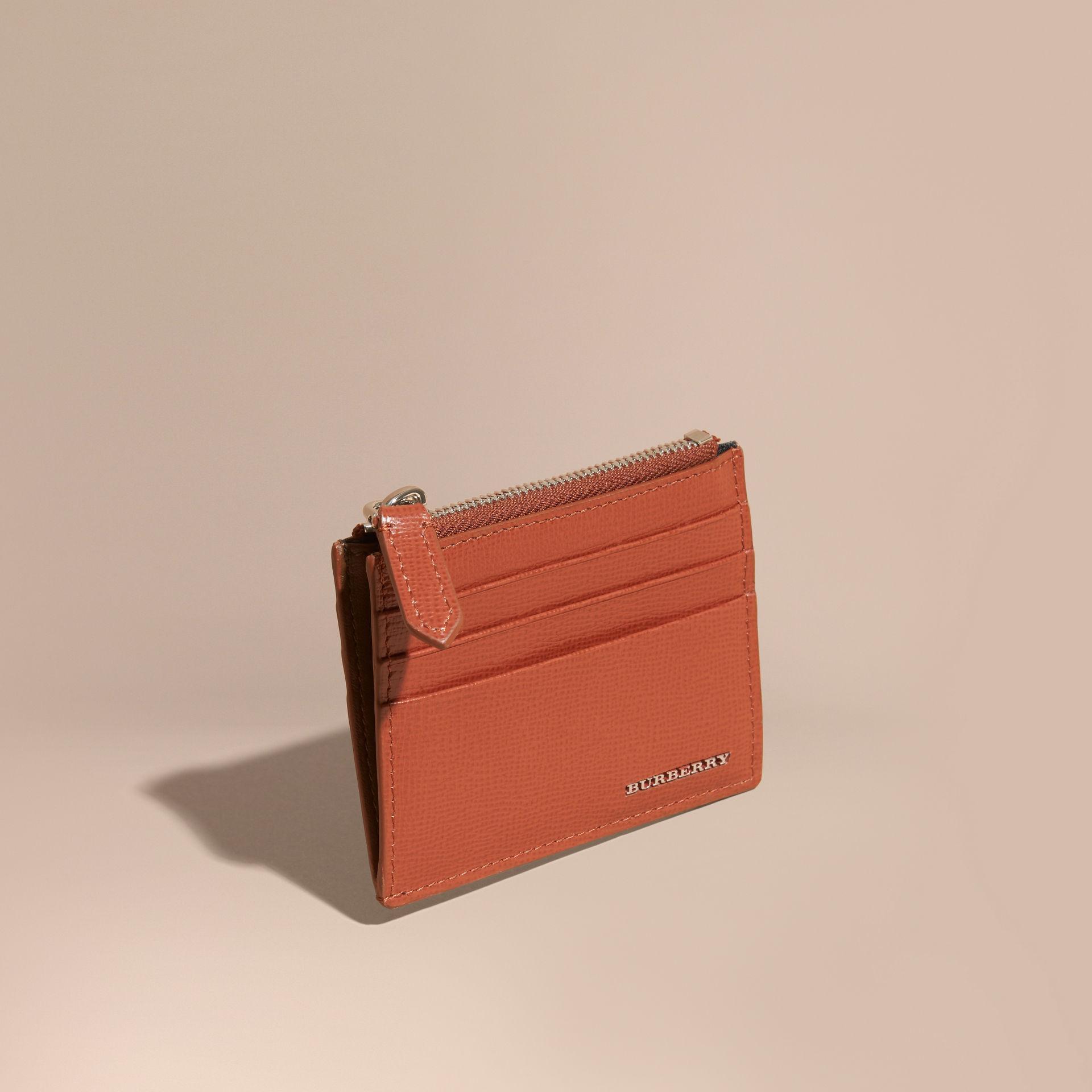 san francisco 4df07 8c0f2 Burberry Multicolor London Leather Zip-top Card Case Burnt Sienna