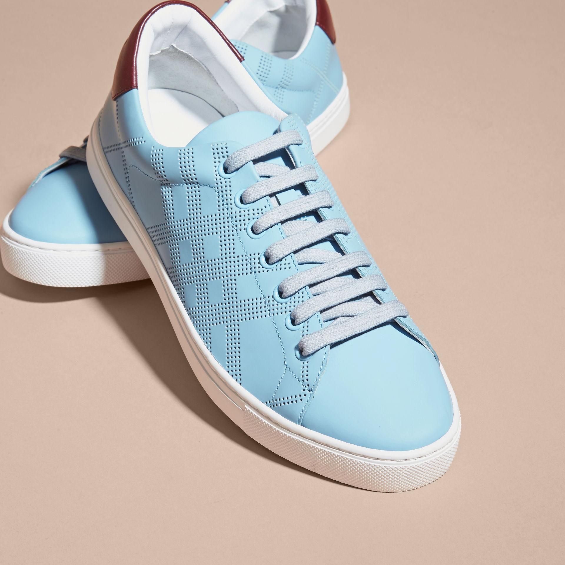 Burberry Perforated Check Leather Trainers Powder Blue/deep Claret Melange for Men