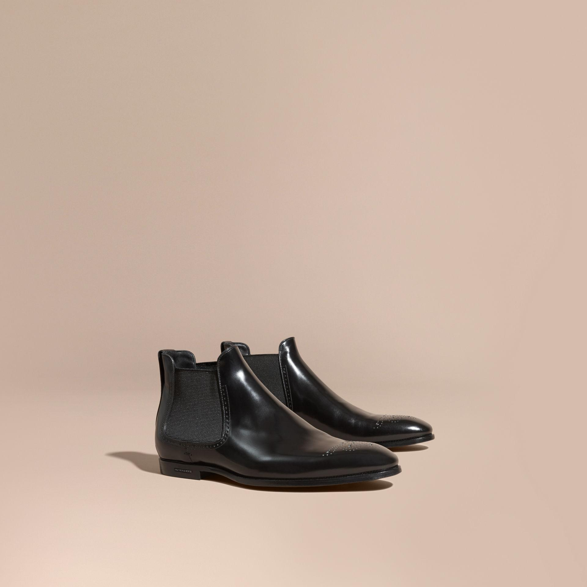 burberry perforated detail leather chelsea boots black in