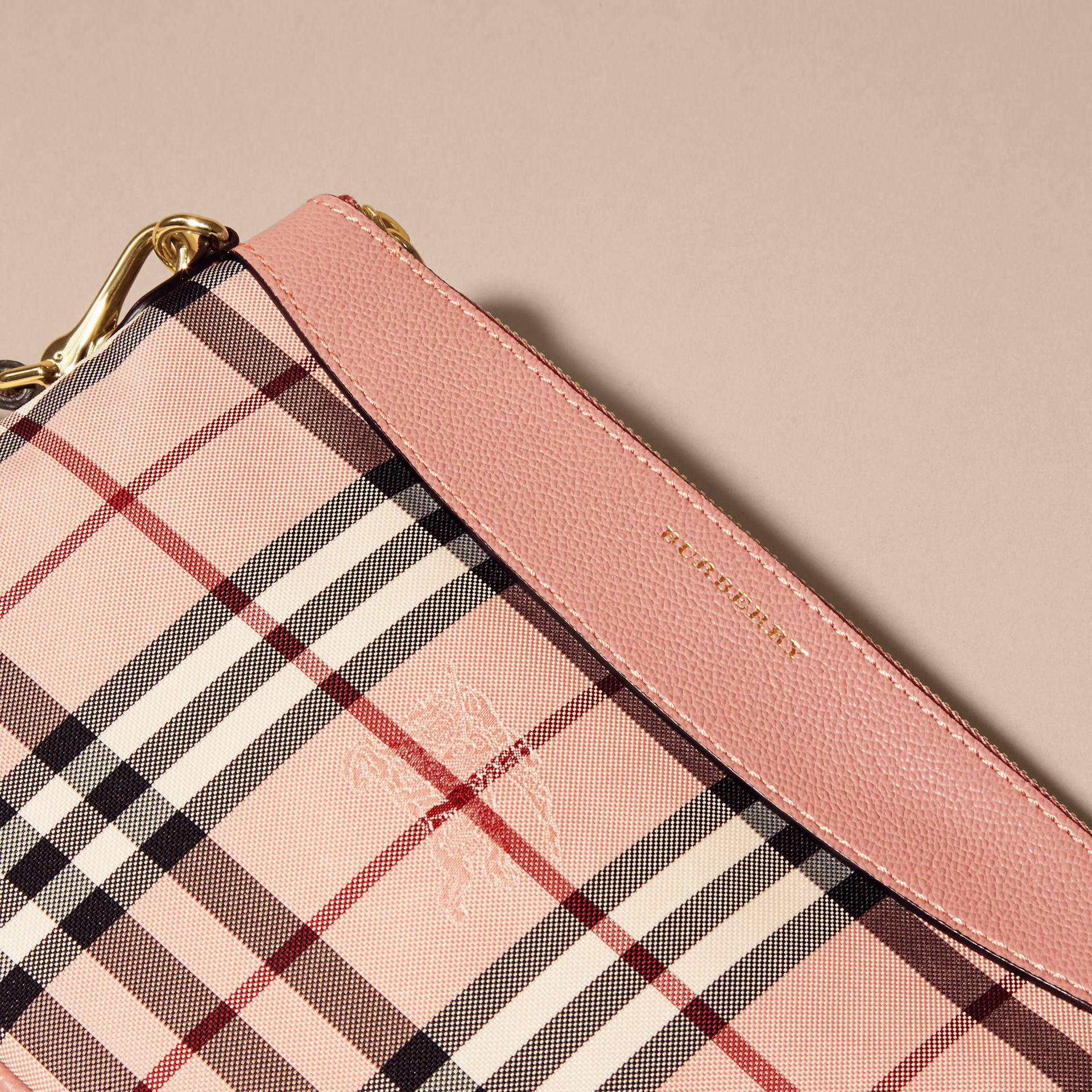 1381ecb5918b Lyst - Burberry Horseferry Check And Leather Clutch Bag Ash Rose ...
