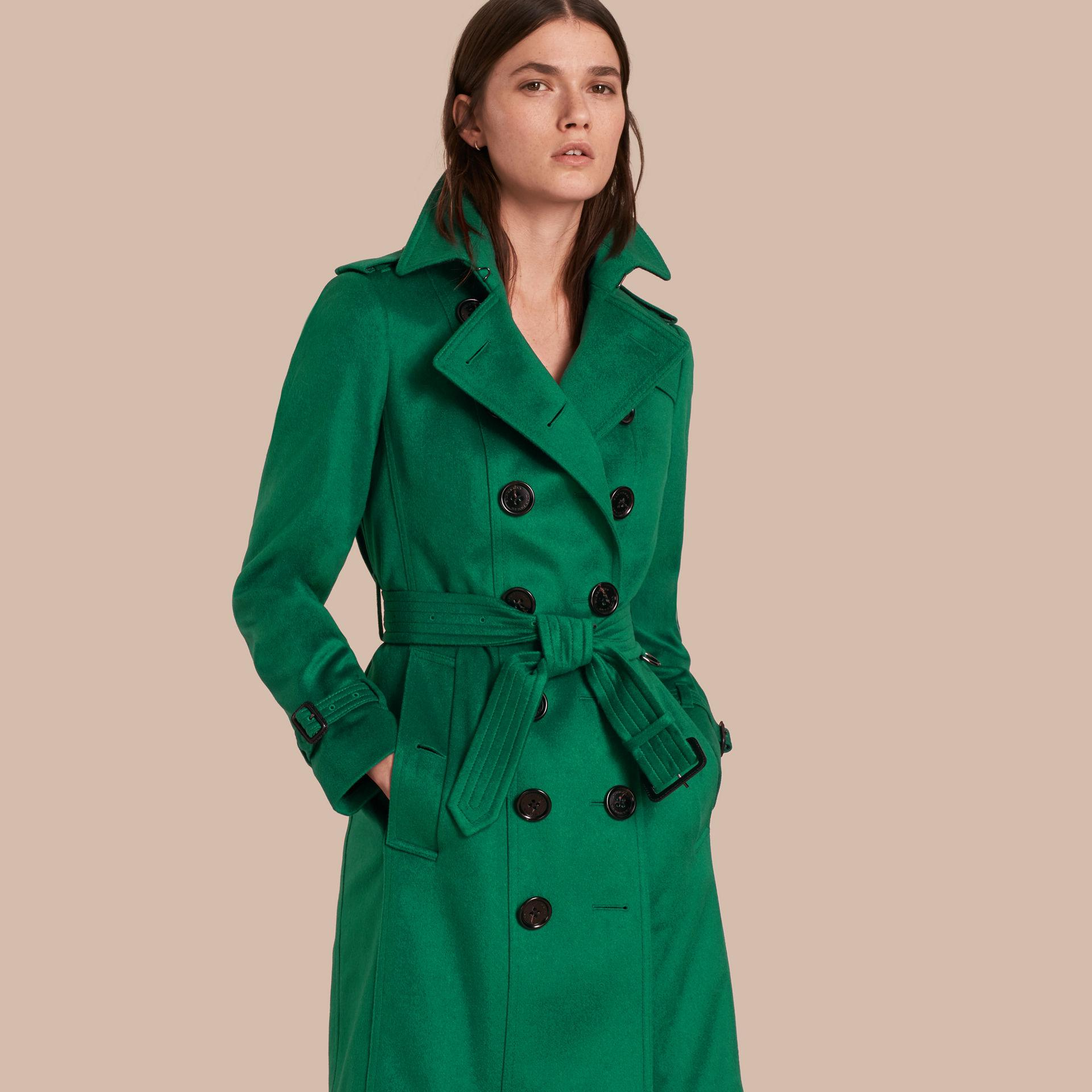 Lyst Burberry Sandringham Fit Cashmere Trench Coat Kelly