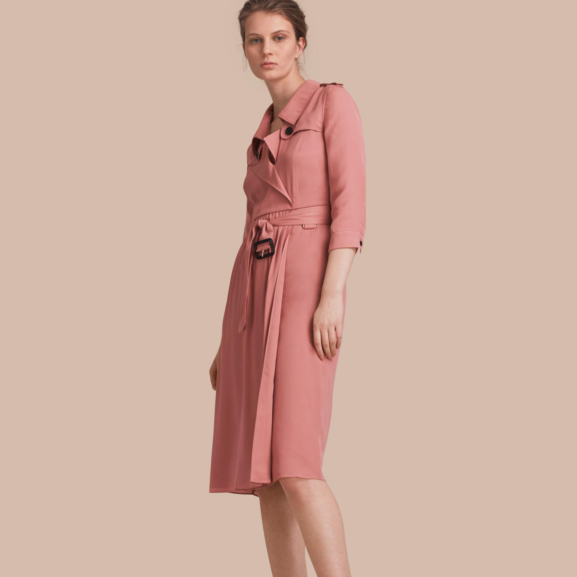 Lyst Burberry Silk Wrap Trench Dress Light Copper Pink