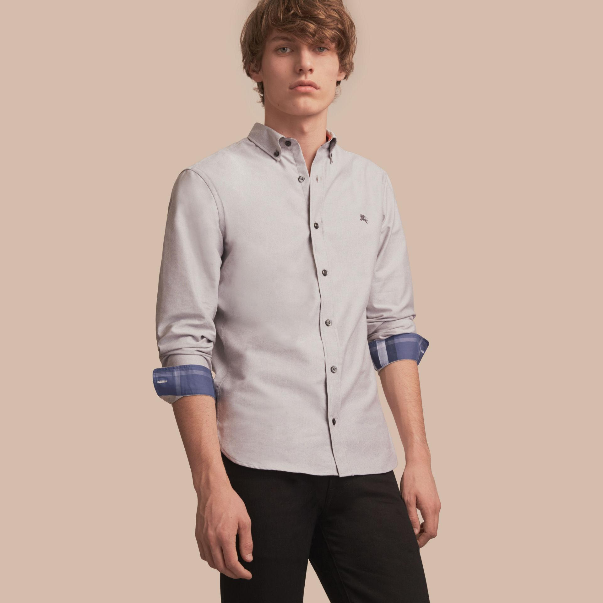 Burberry button down collar cotton oxford shirt with check for Men s oxford button down shirts