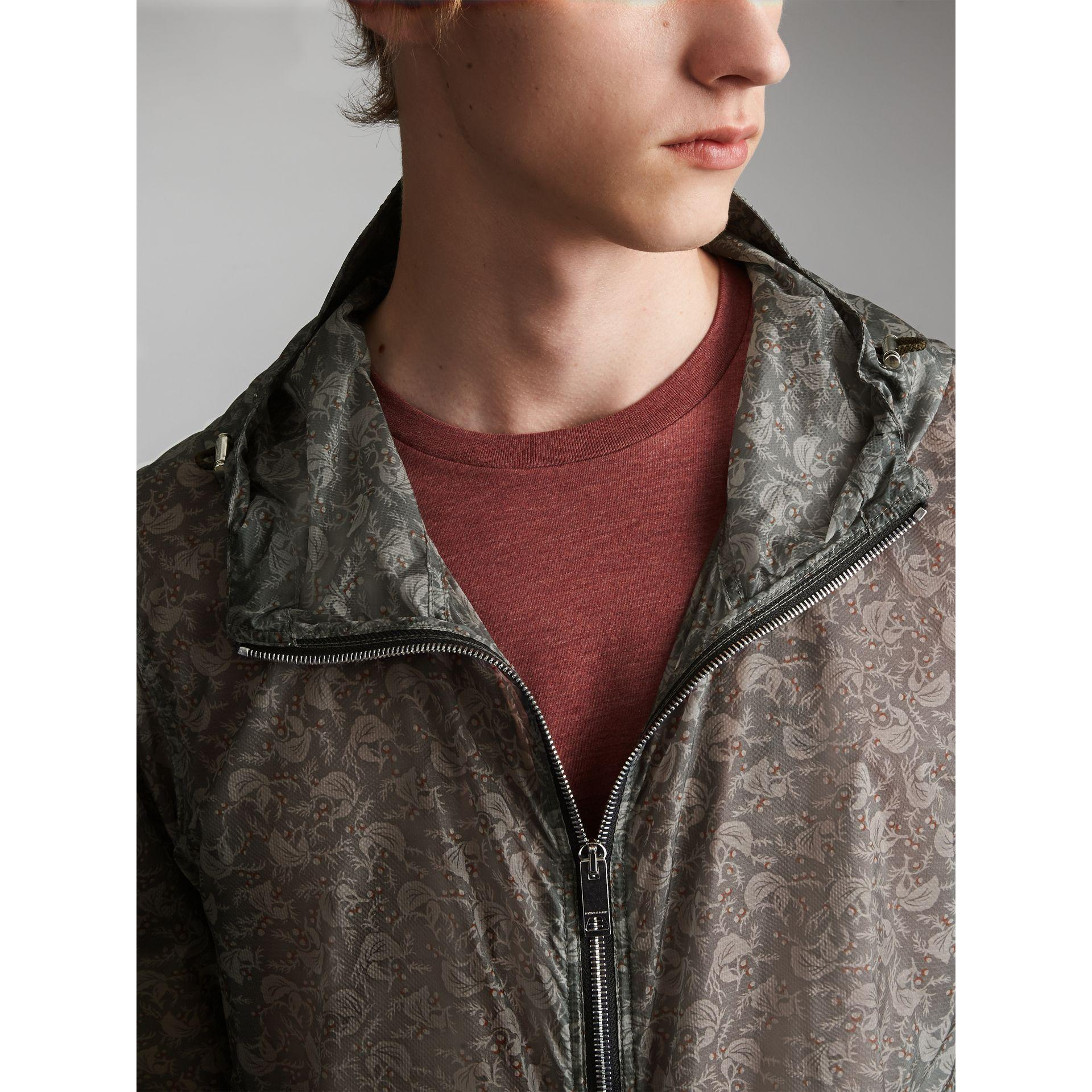 Burberry Synthetic Leaf Pattern Hooded Ultra-lightweight Jacket in Blue Grey (Grey) for Men
