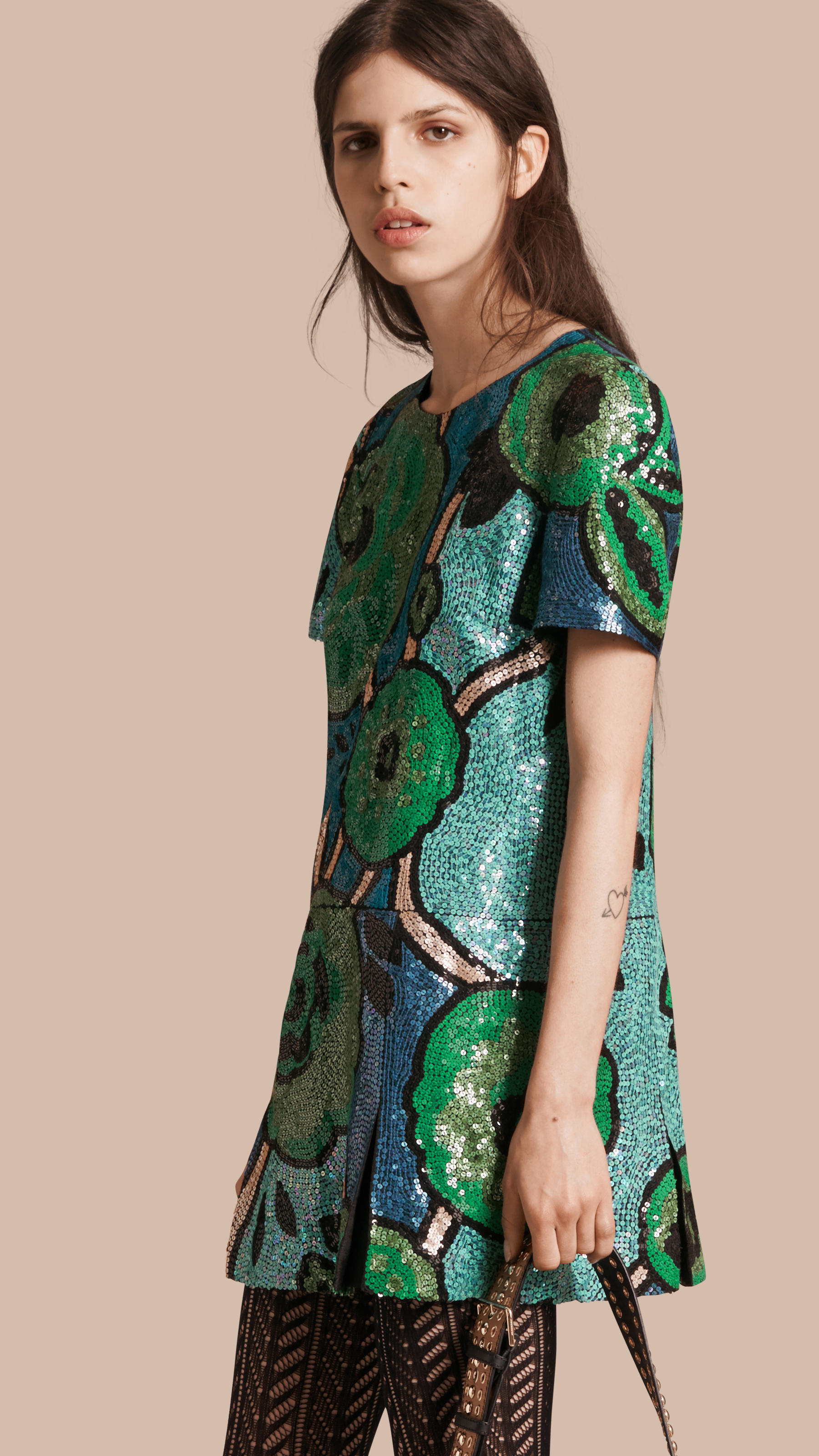 burberry hand embroidered sequin t shirt dress bright