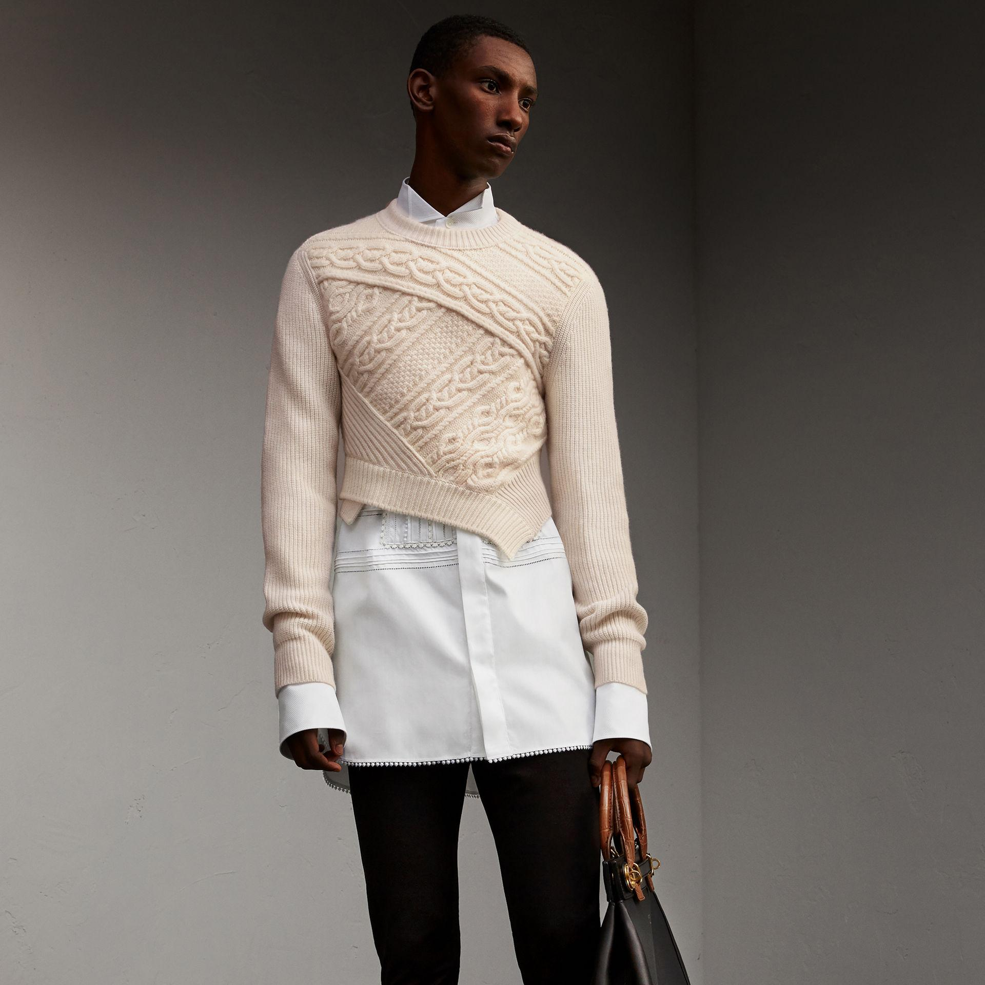 843252d957f Burberry Cable Knit Cashmere Wool Cropped Sweater in Natural