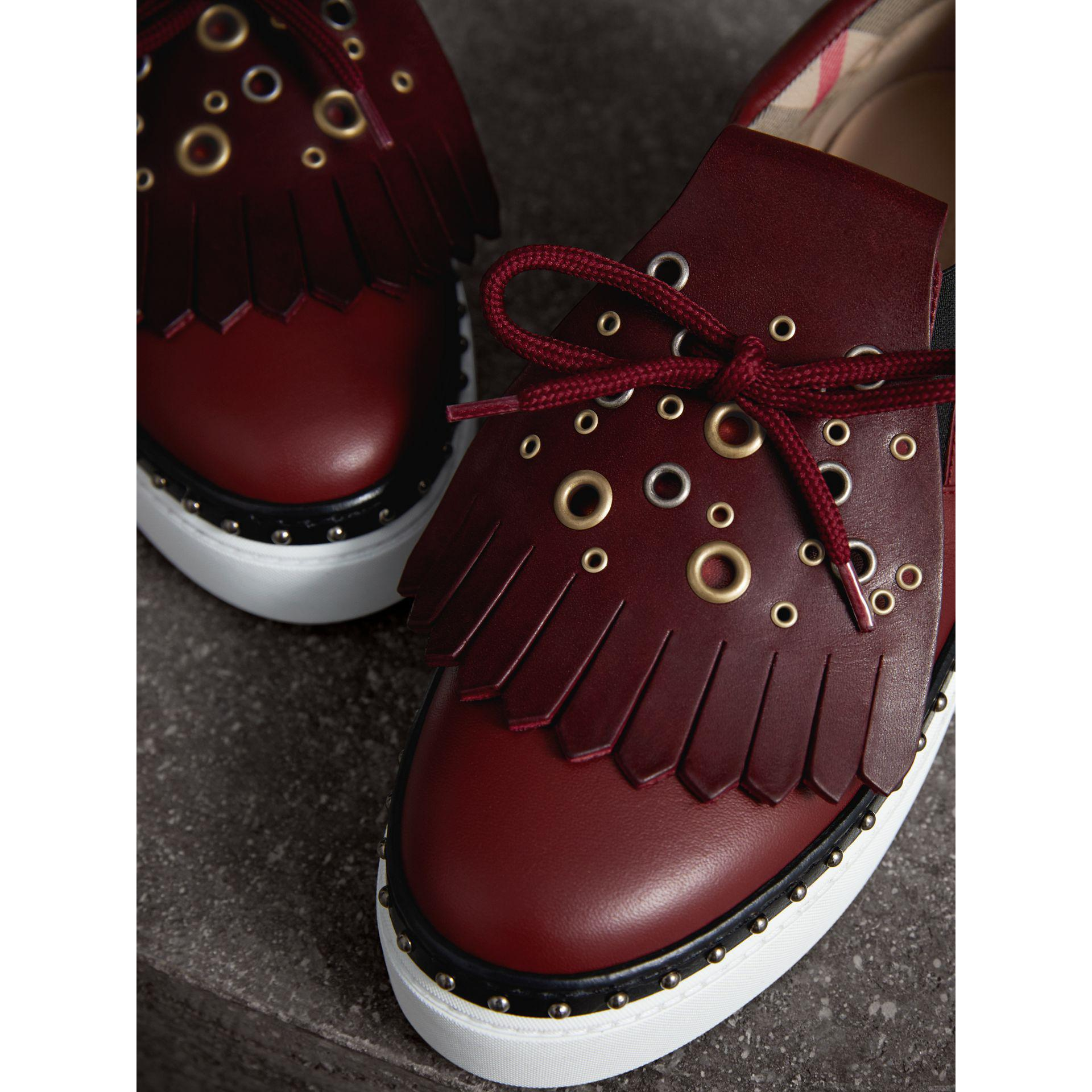 63e2b797aba Lyst - Burberry Kiltie Fringe Leather Trainers