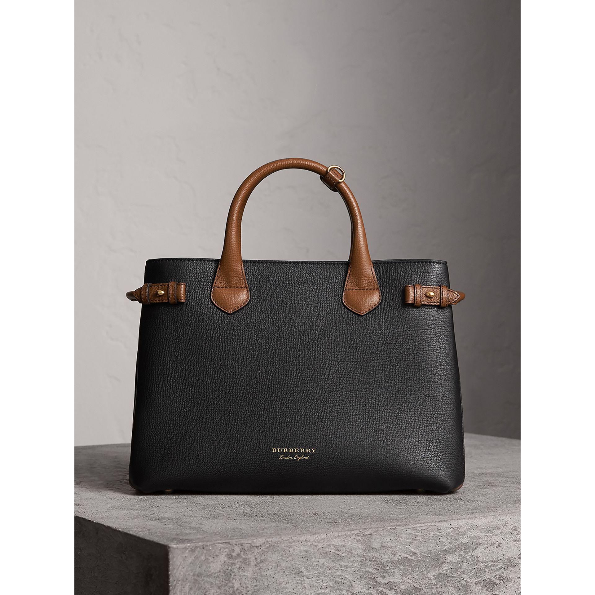 566b7e889e12 Lyst - Burberry The Medium Banner In Two Tone Leather