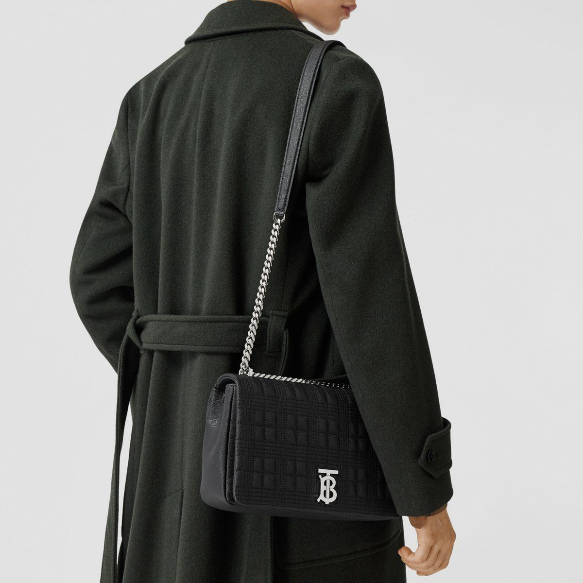 "Burberry Leder Mittelgroße Handtasche ""Lola"" aus genarbtem, gestepptem Leder in Schwarz  D8g3p"