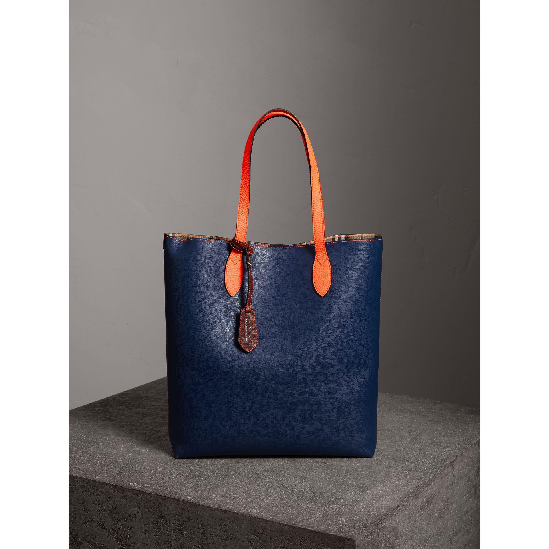 a14c37247388 Burberry Medium Two-tone Coated Leather Tote in Blue - Lyst