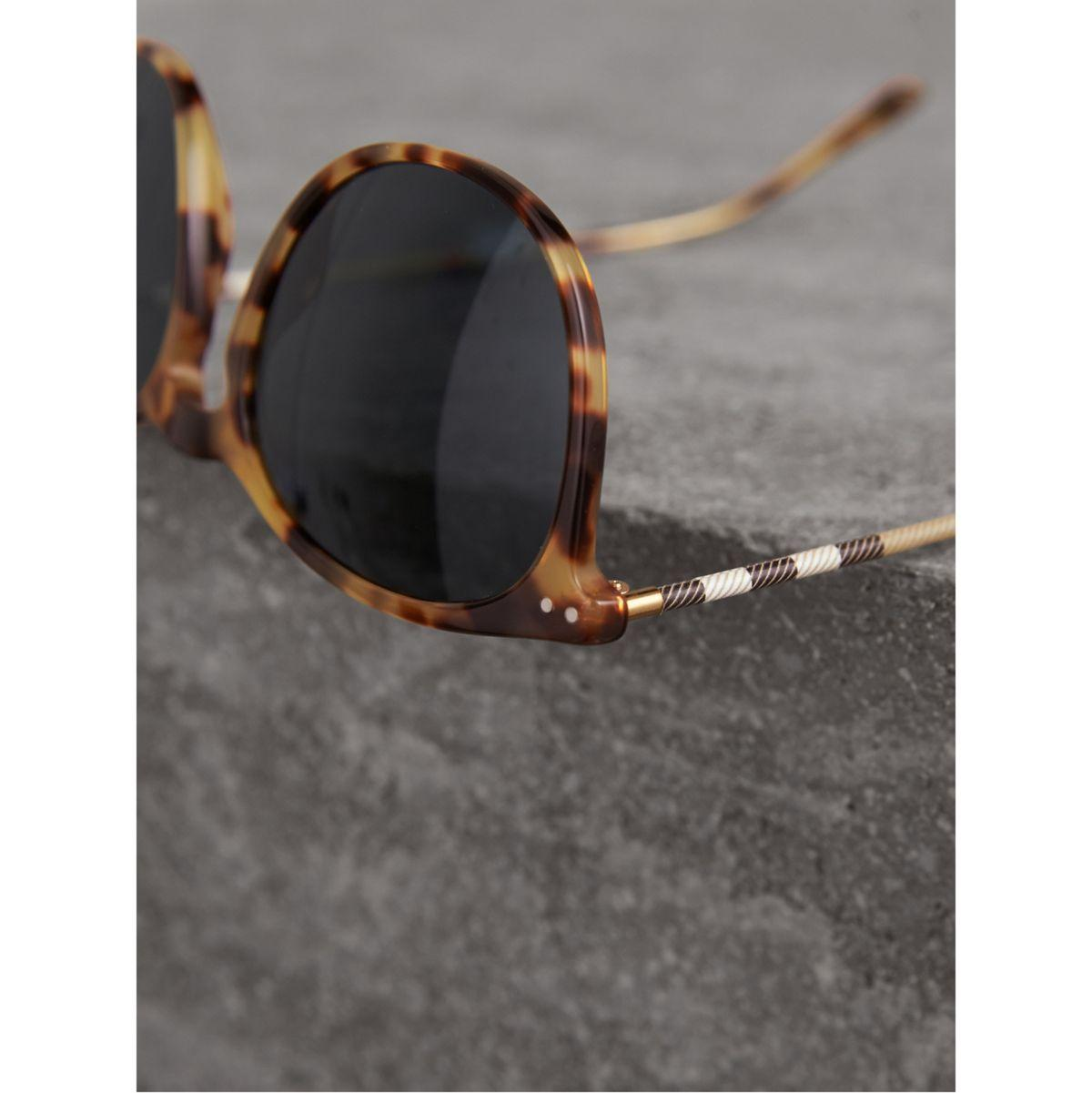 Burberry Leather Check Detail Round Frame Sunglasses In Dark Brown | for Men