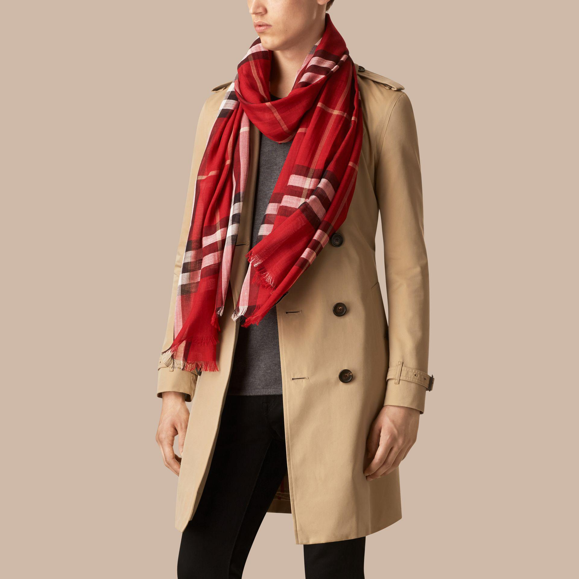 Lyst - Burberry Lightweight Check Wool And Silk Scarf Parade Red in Red 8f99821124