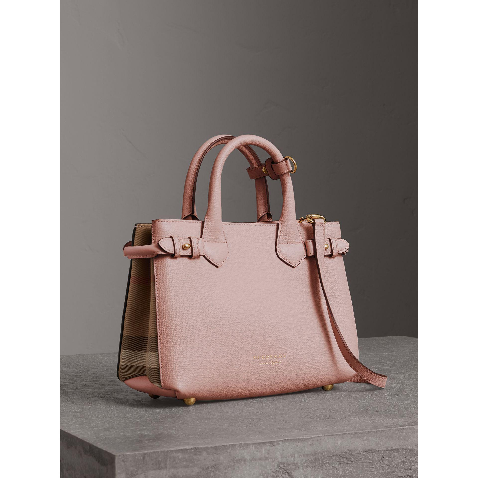 0ced91c10854 Burberry Multicolor The Small Banner In Leather And House Check Pale Orchid