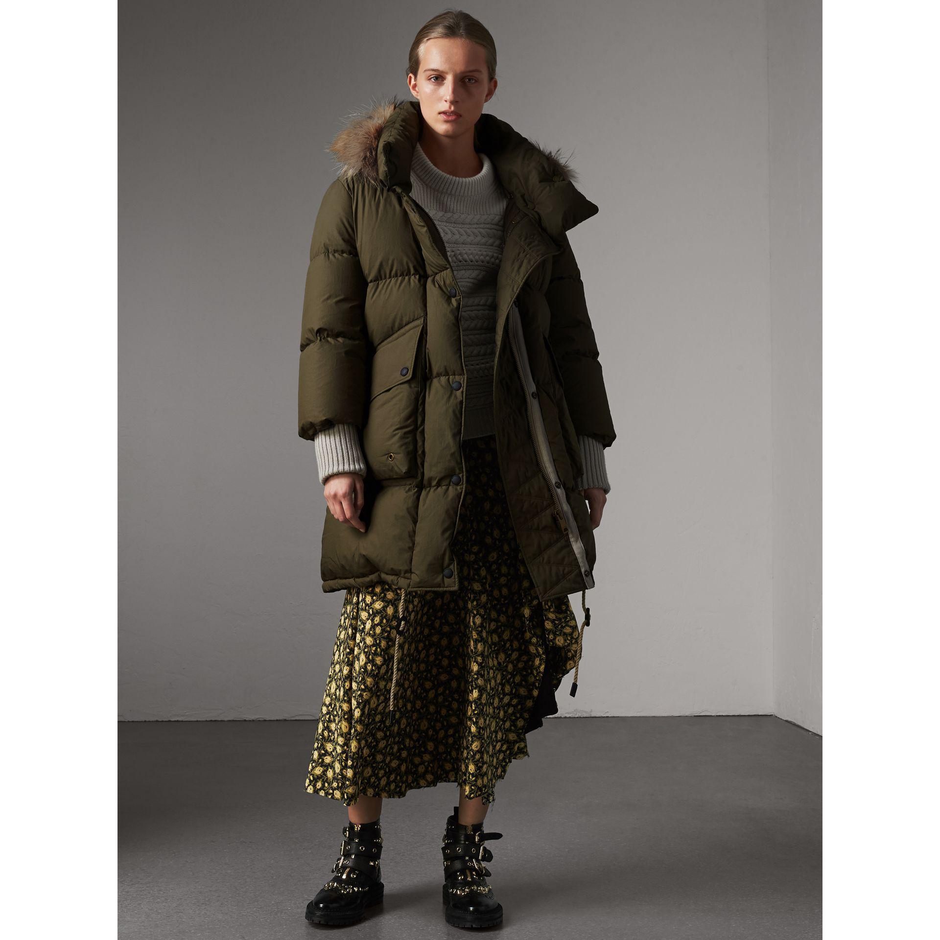 Burberry Detachable Fur Trim And Shearling Hood