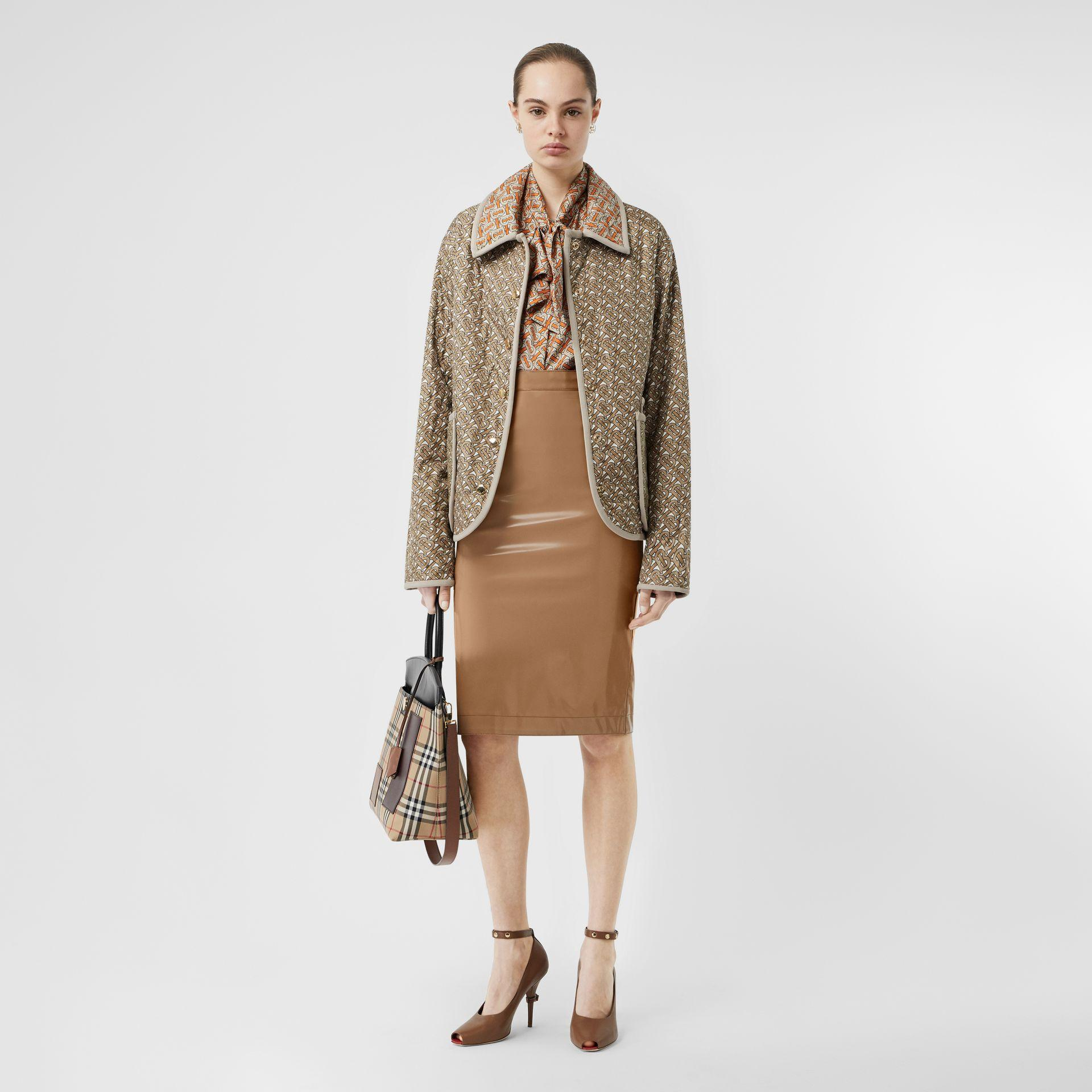 7a09bd390 Lyst - Burberry Vinyl Pencil Skirt in Natural